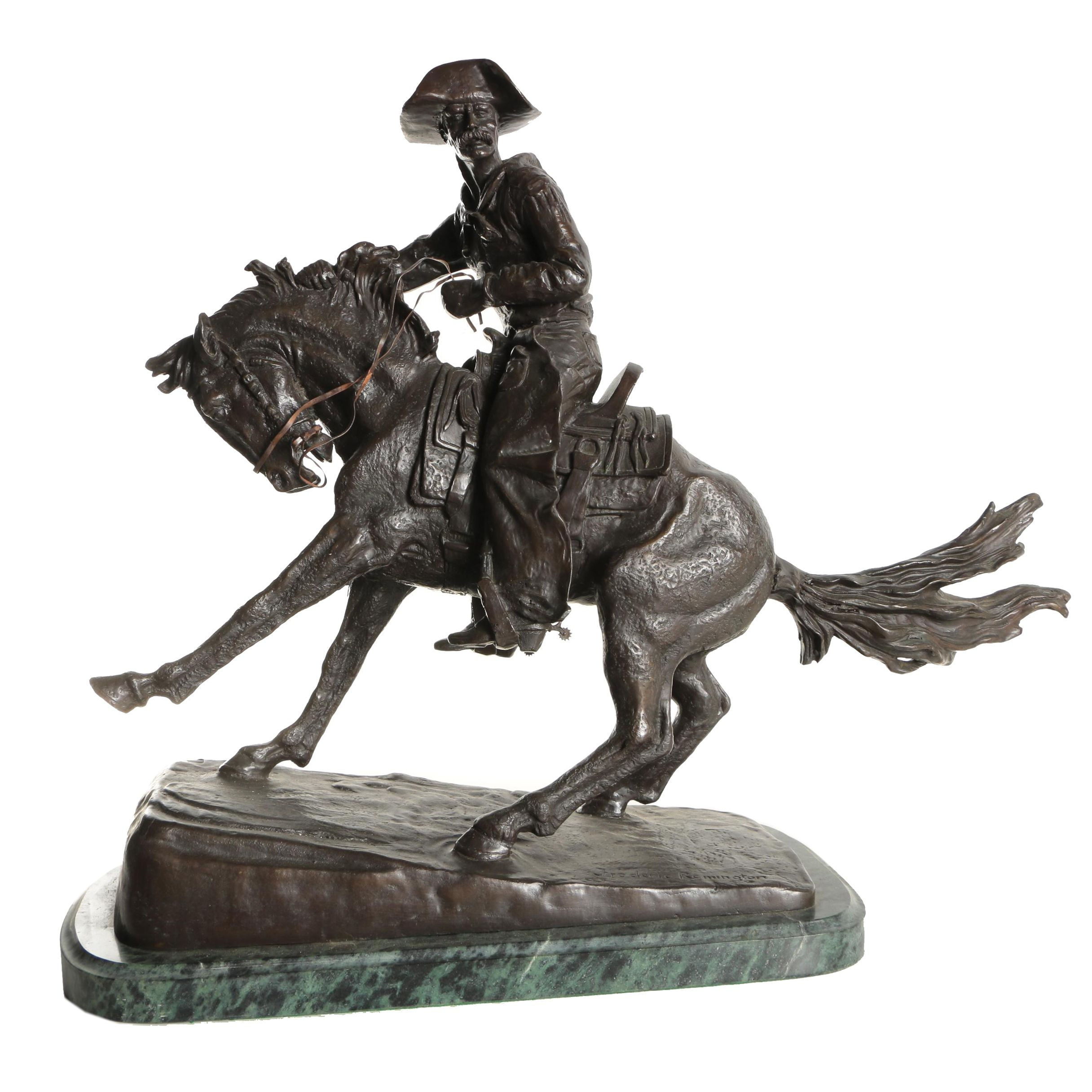 "Bronze Reproduction Sculpture After Frederic Remington ""The Cowboy"""