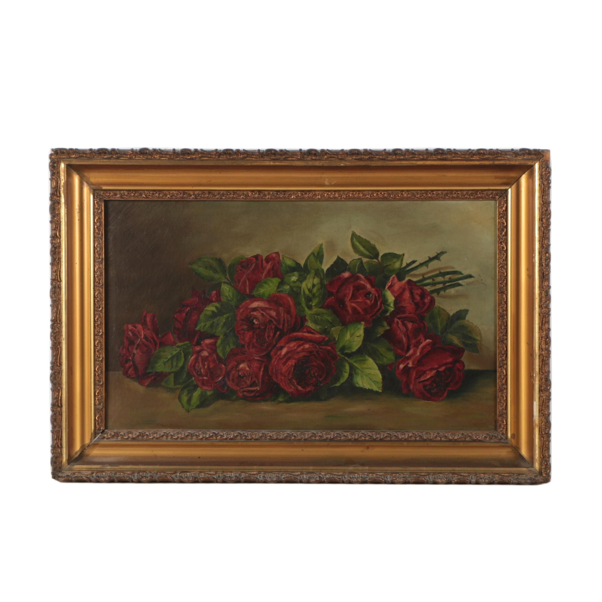 Antique Oil Painting of Still Life with Roses