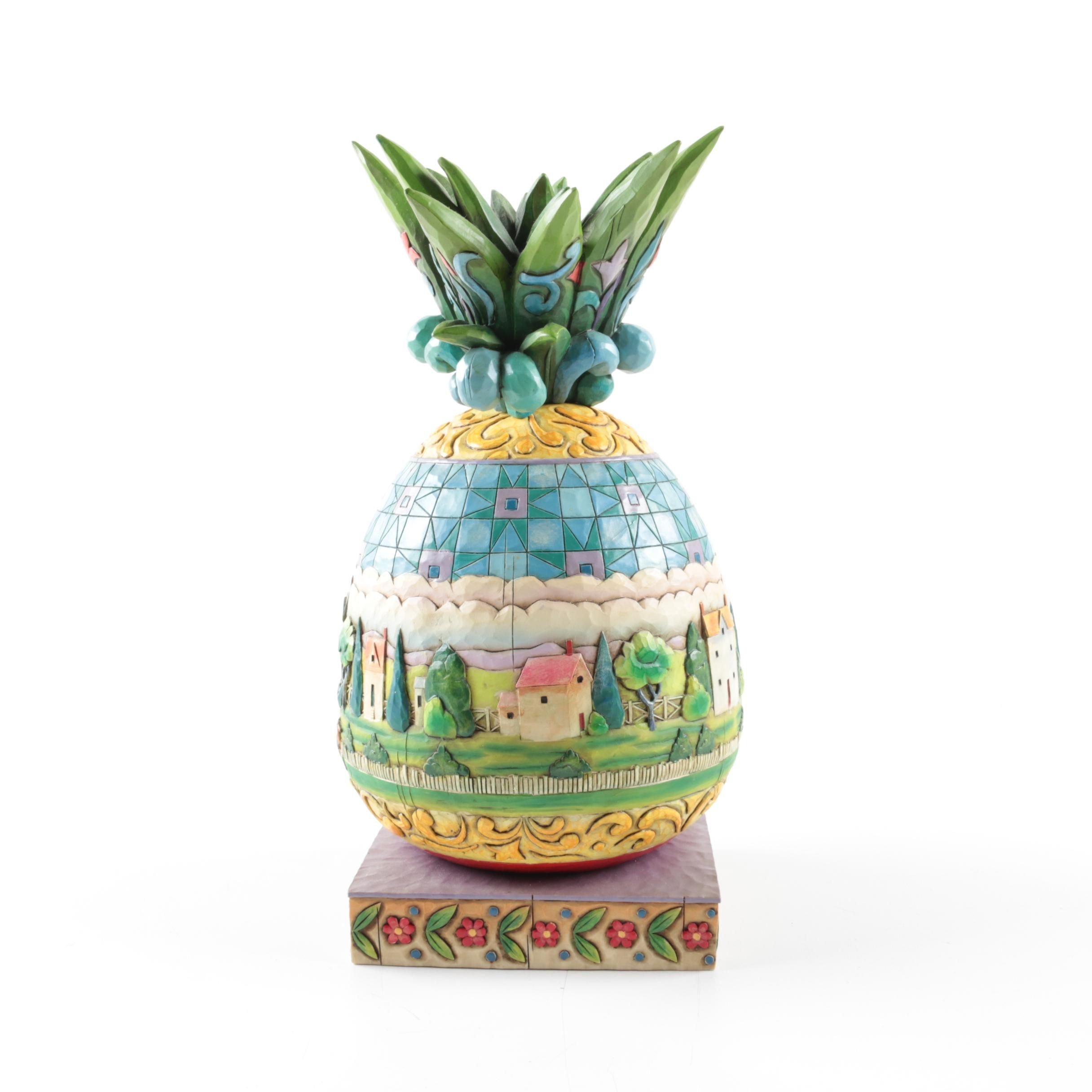 "Jim Shore Heartwood Creek ""Welcome All"" Pineapple"