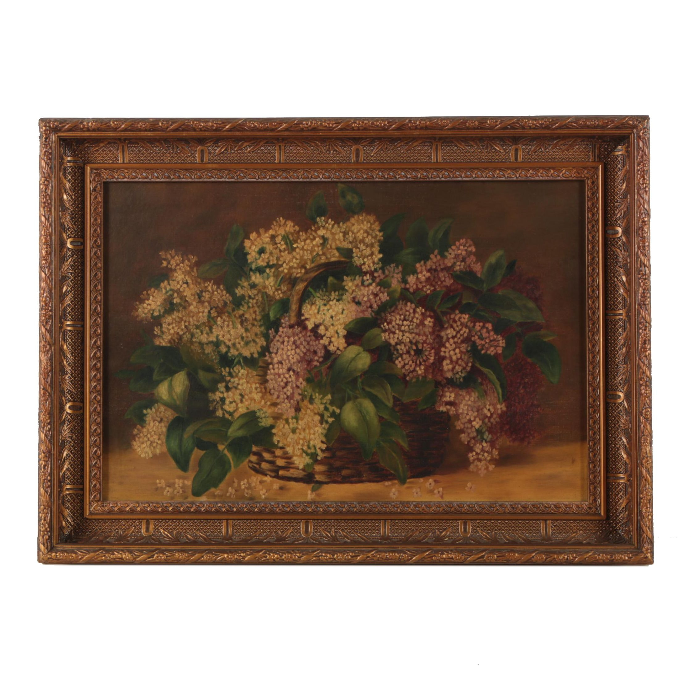 Antique Oil Painting of a Floral Still Life with Lilacs