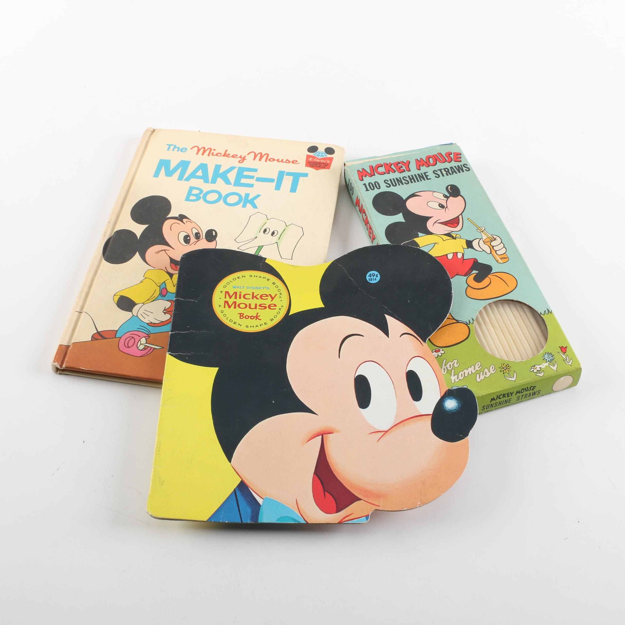 Vintage Mickey Mouse Children's Books and Straw Set