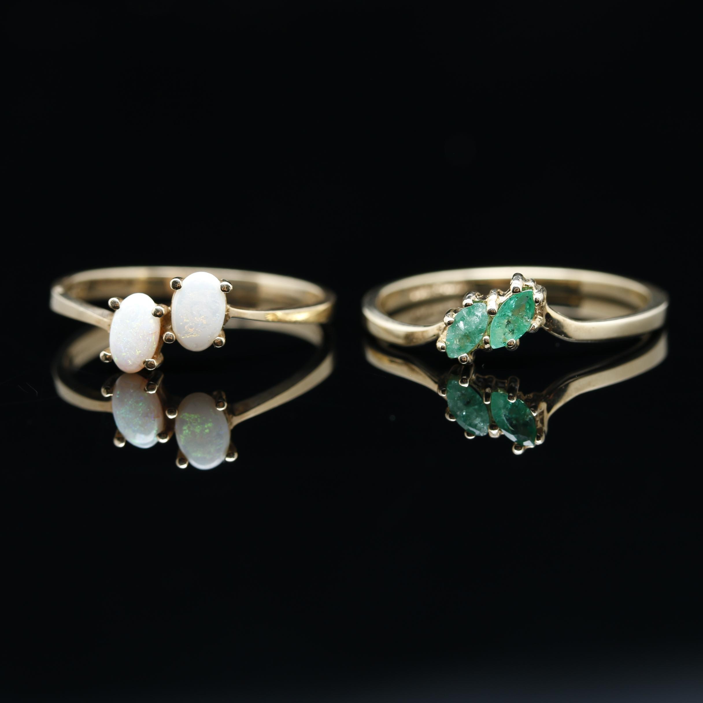 10K Yellow Gold Opal and Emerald Ring Selection