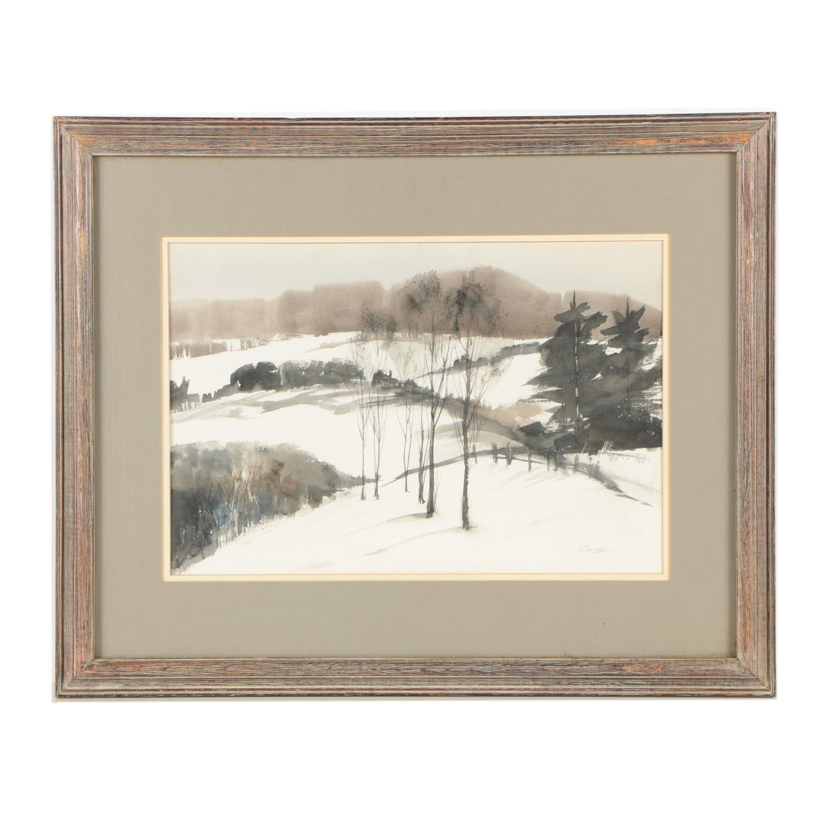 "Hal Scroggy Watercolor Painting ""Winter's First Snow"""