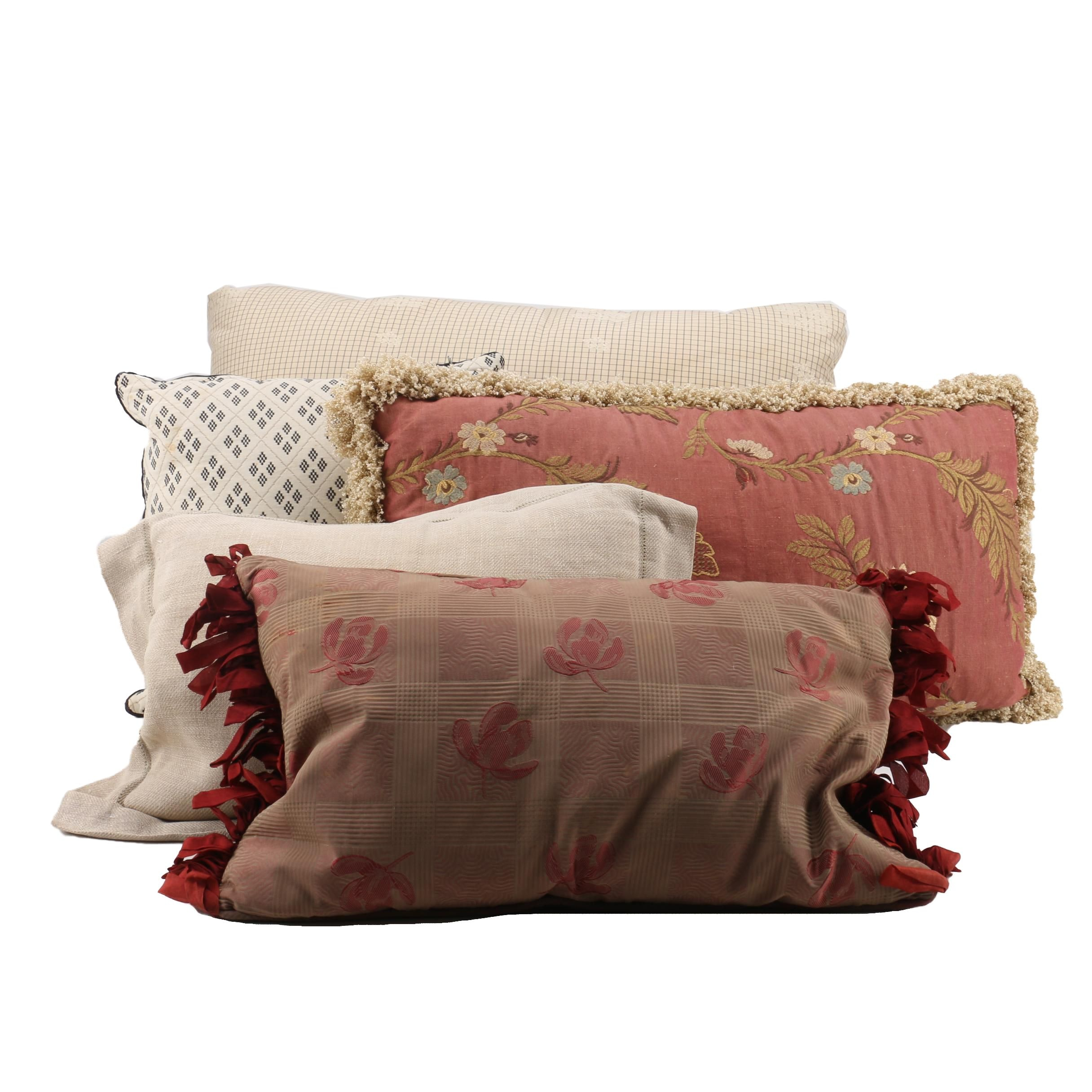 Assorted Red and Cream Decorative Throw Pillows