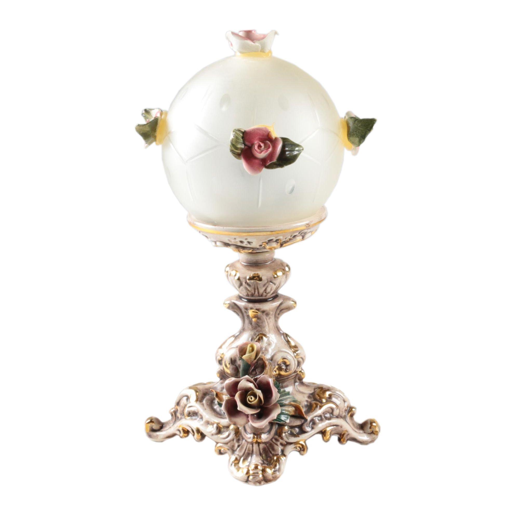Vintage Capodimonte Ceramic Rose Table Lamp