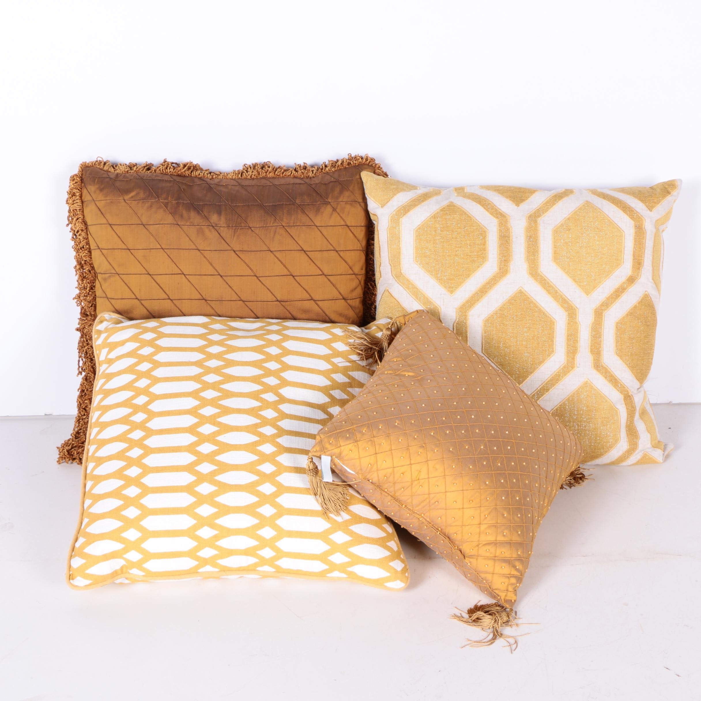 Gold Tone and Metallic Accent Pillows
