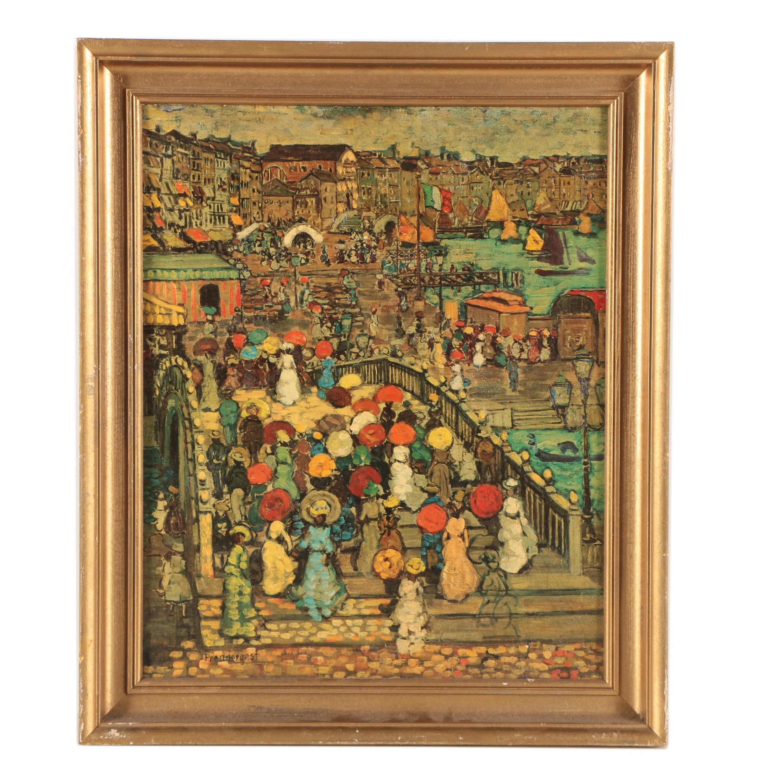 "Offset Lithograph After Maurice Prendergast ""Ponte della Paglia"""