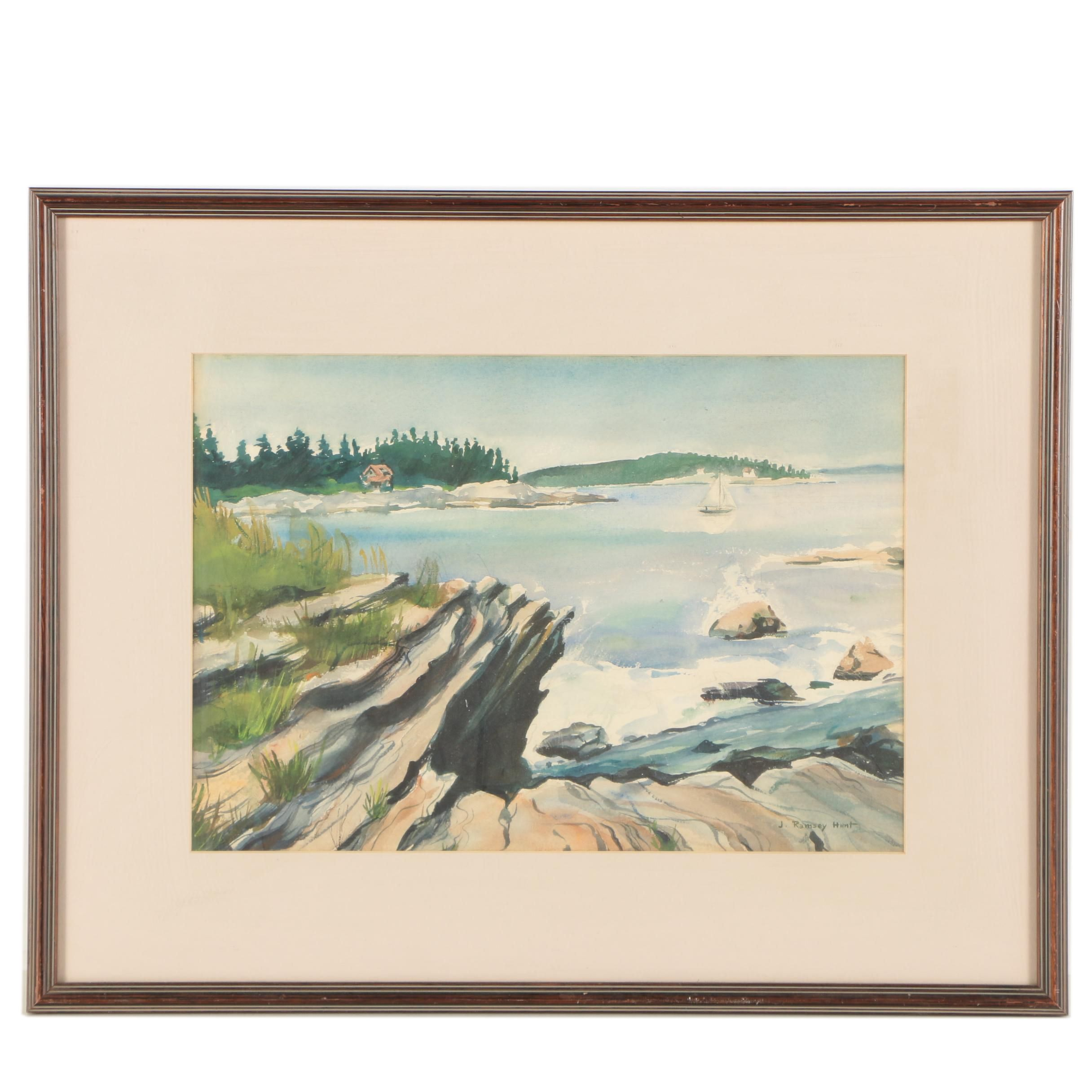 "J. Ramsey Hunt Watercolor Painting ""Gloucester Cove"""