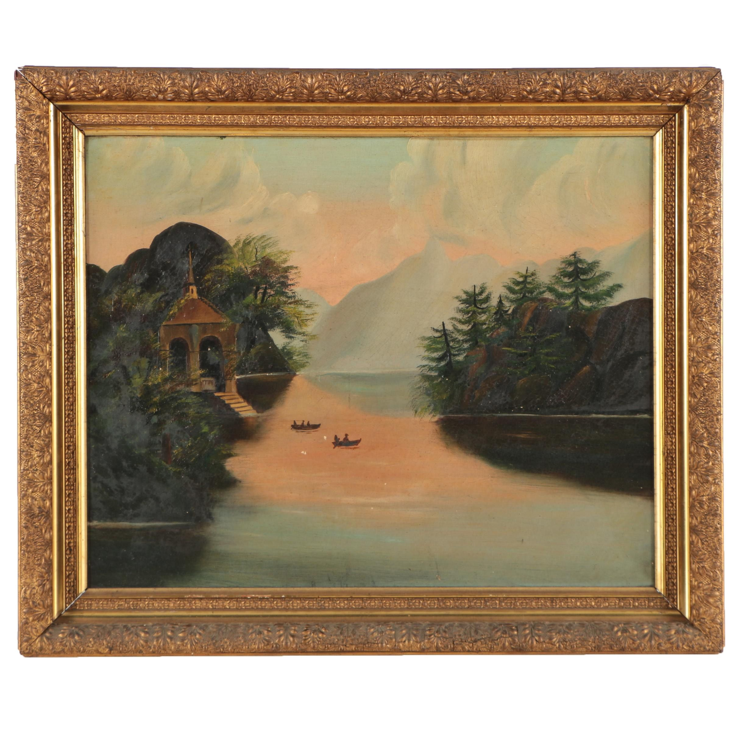 Antique Naïve Oil Painting of Sailboats in a Lake