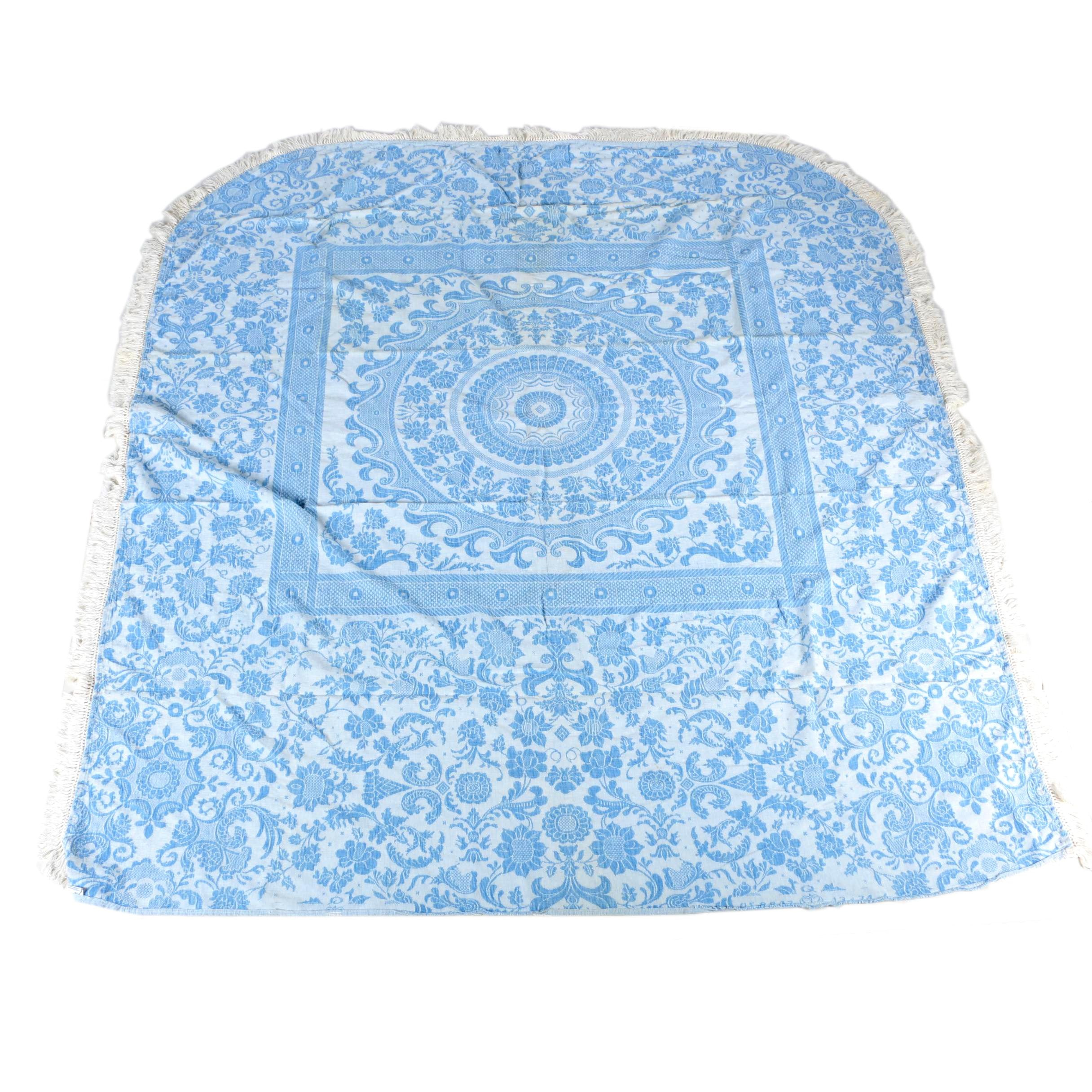 Queen-Size Blue and White Matelasse Bedspread