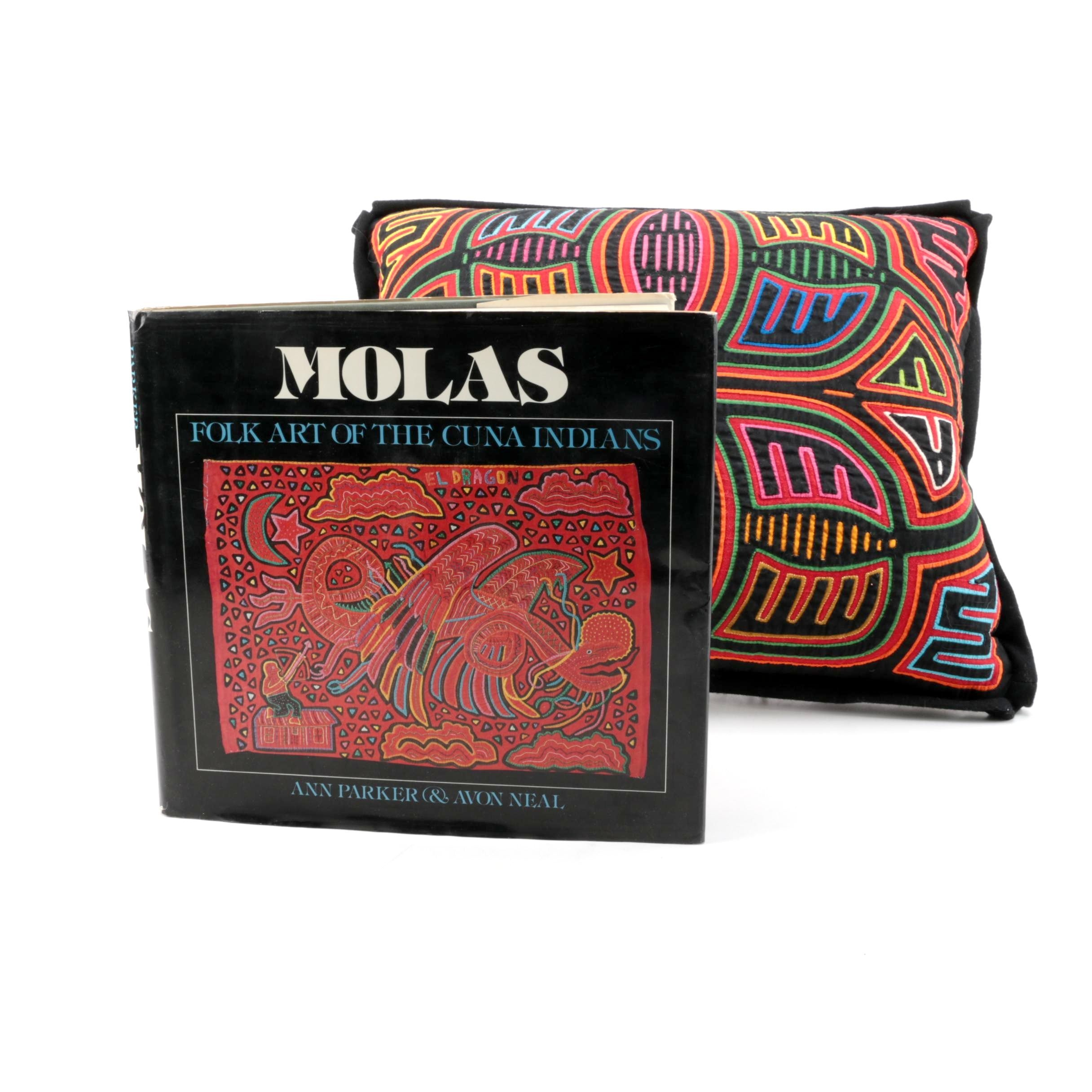 "Mola Kuna Style Textile Pillow and ""Molas"" by Parker and Neal"