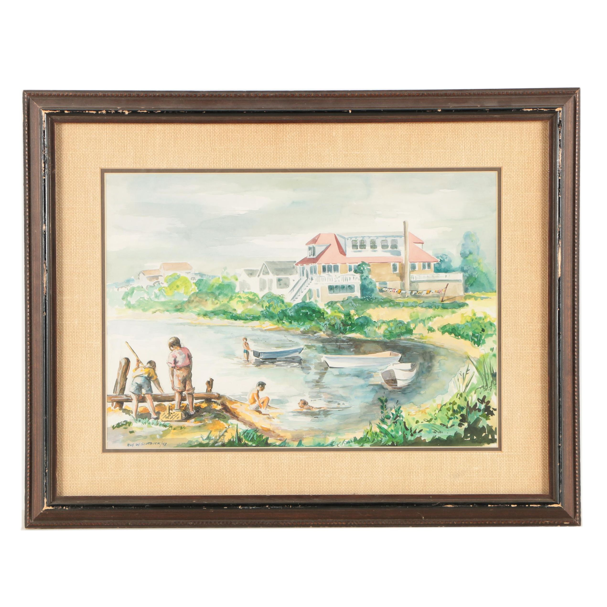 "Max W. Slotnick Watercolor Painting ""Summer, Spring Lake, N.J."""