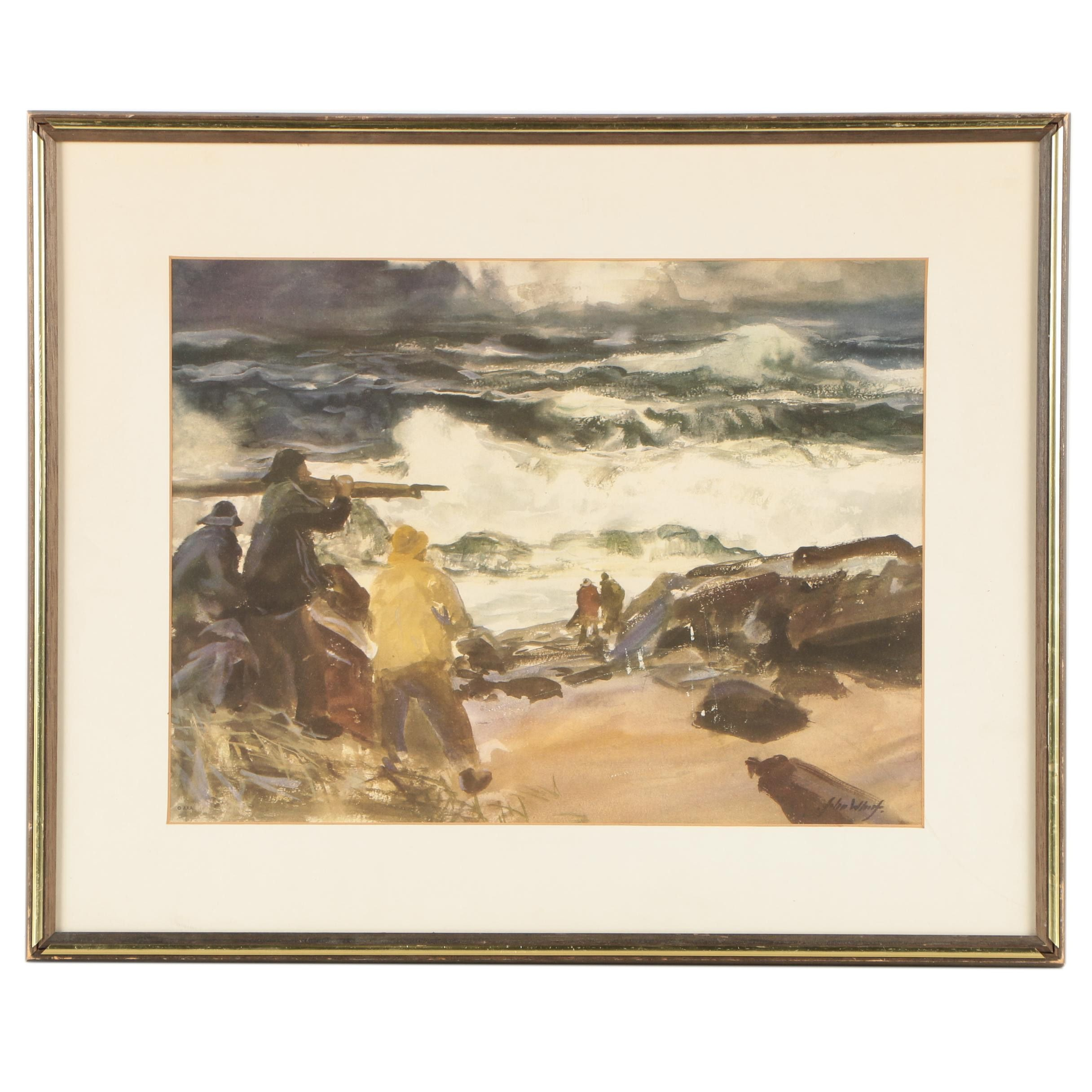 "Offset Lithograph After John Whorf ""Surf Hunters"""
