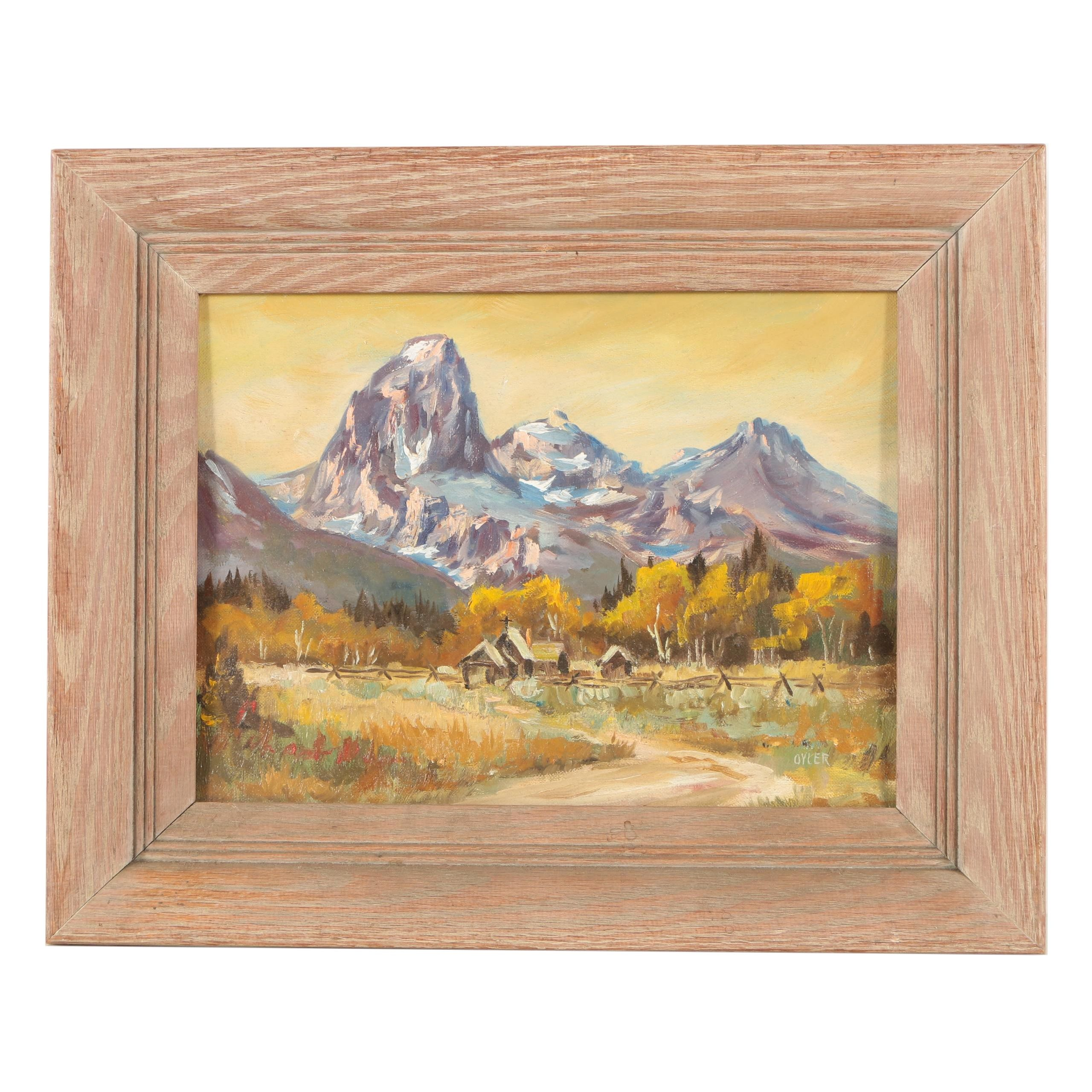 "Ina S. Oyler Oil Painting ""Grand Tetons, from Snake River Valley"""
