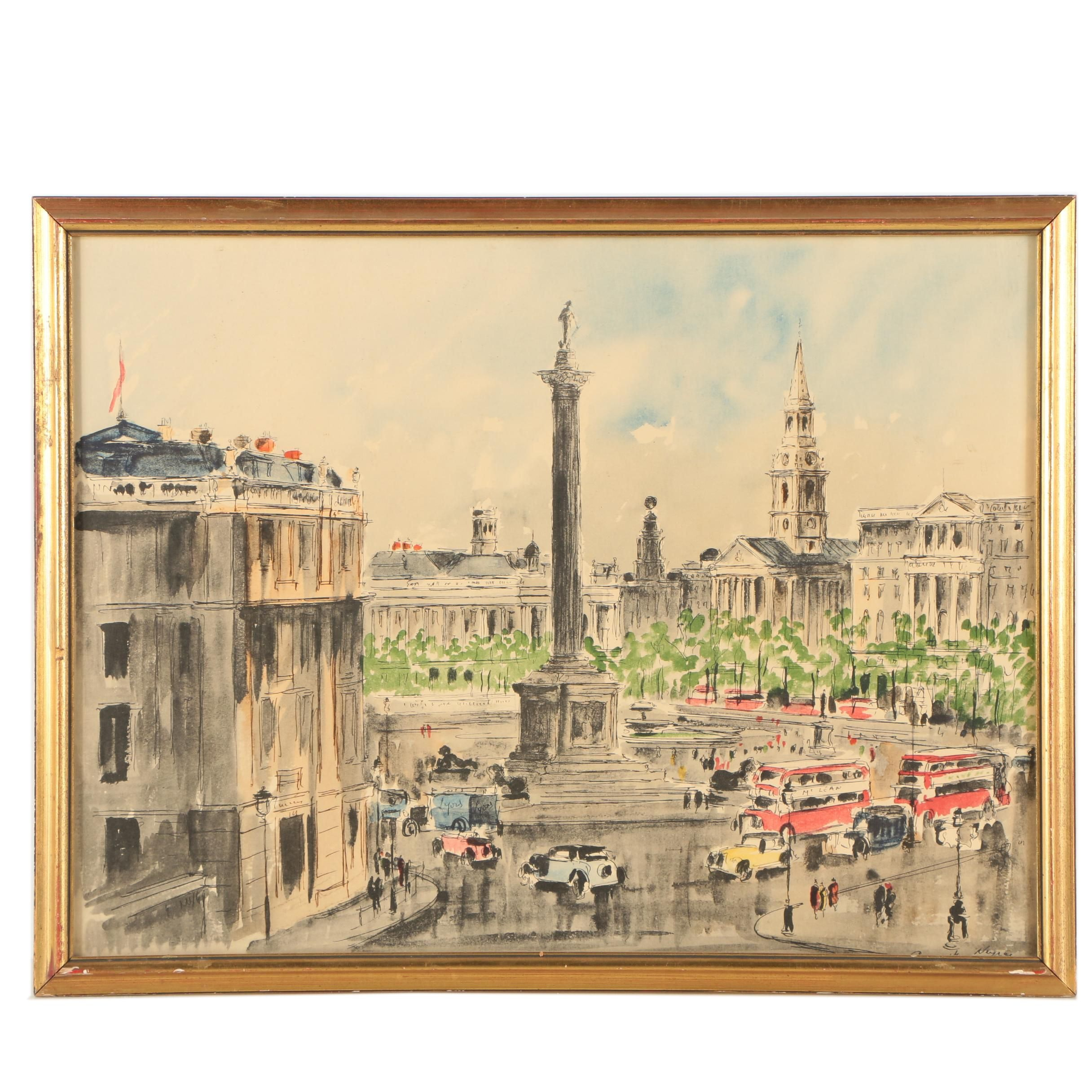 "Color Lithograph After Guy de Neyrac ""London Circle"""