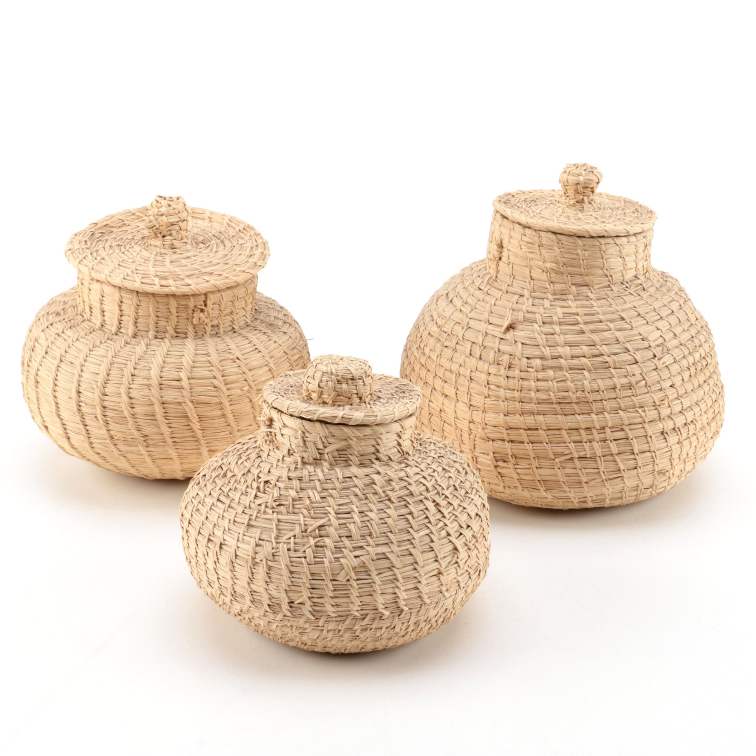 Coiled Rush Baskets with Lids