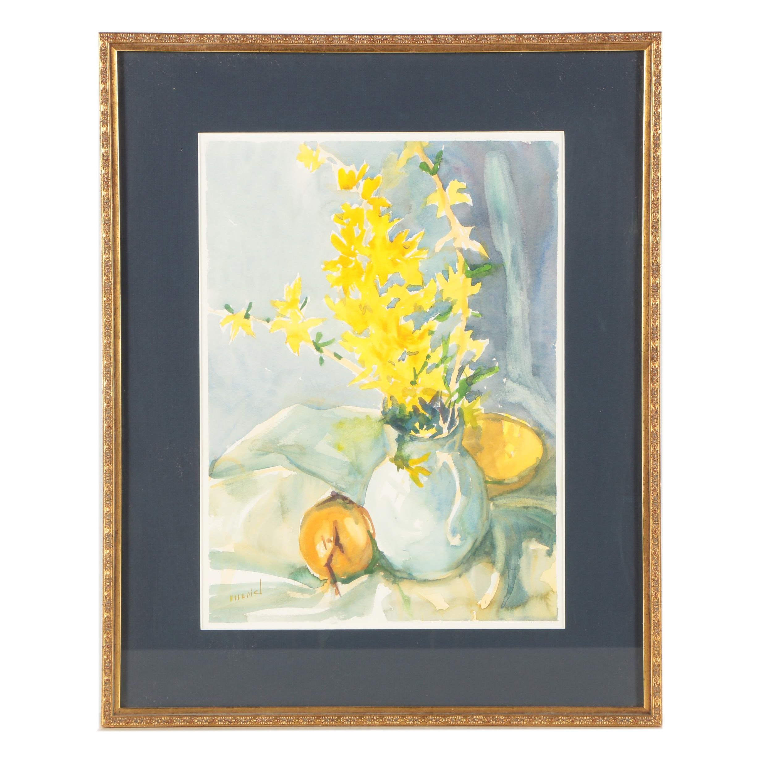 "Muriel Somers Watercolor Painting ""Forsythia in White Pitcher"""