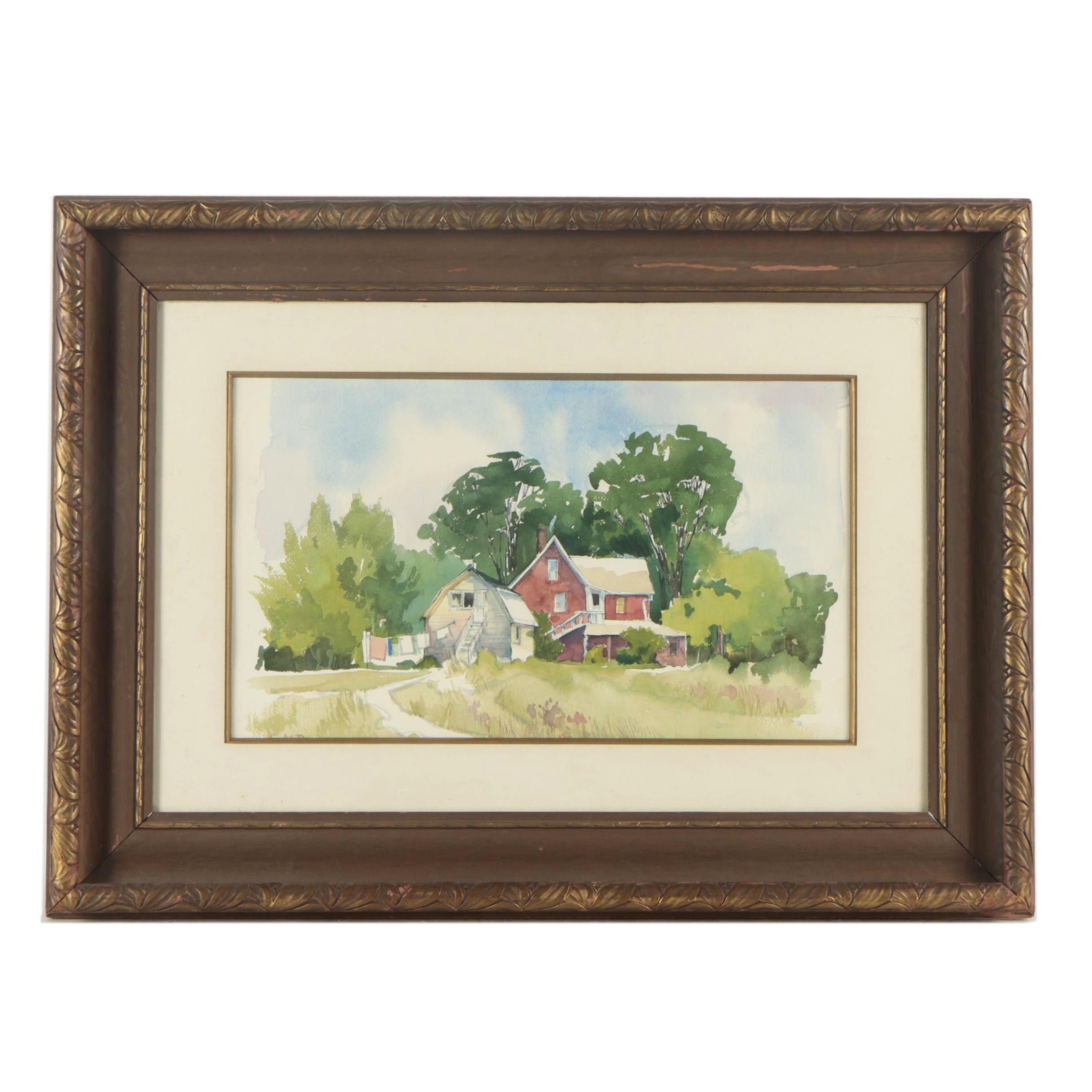 """Watercolor Painting """"Lancaster Farm"""""""