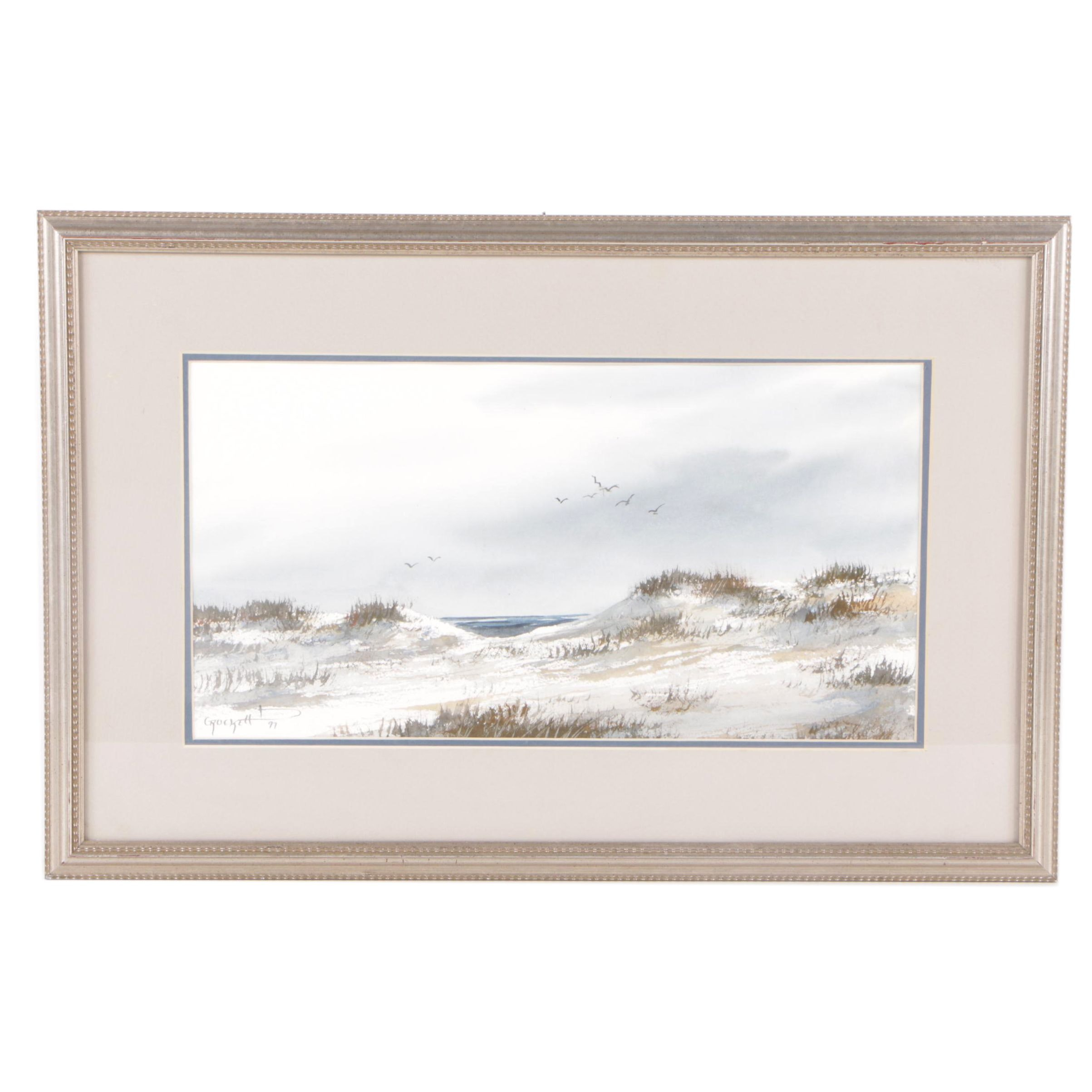 "Willie Crockett Watercolor Painting ""Chesapeake Dunes"""