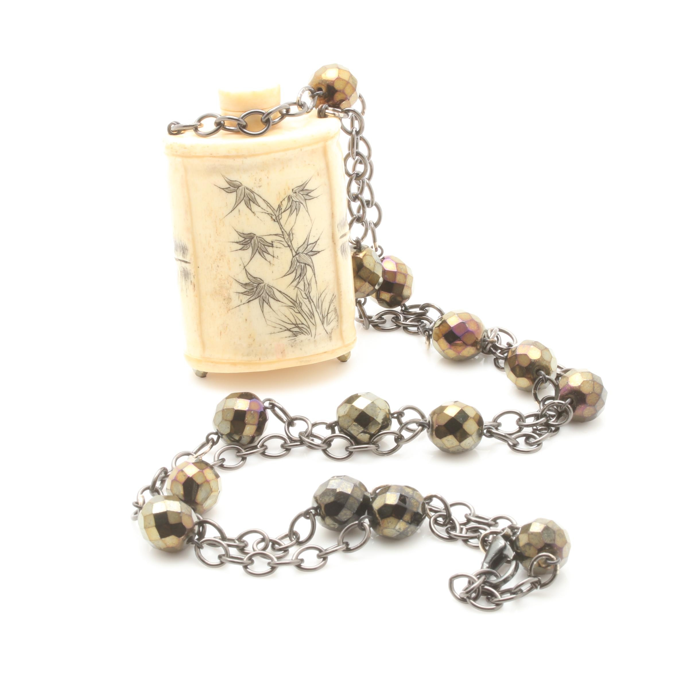 Bone and Glass Snuff Bottle Pendant Necklace