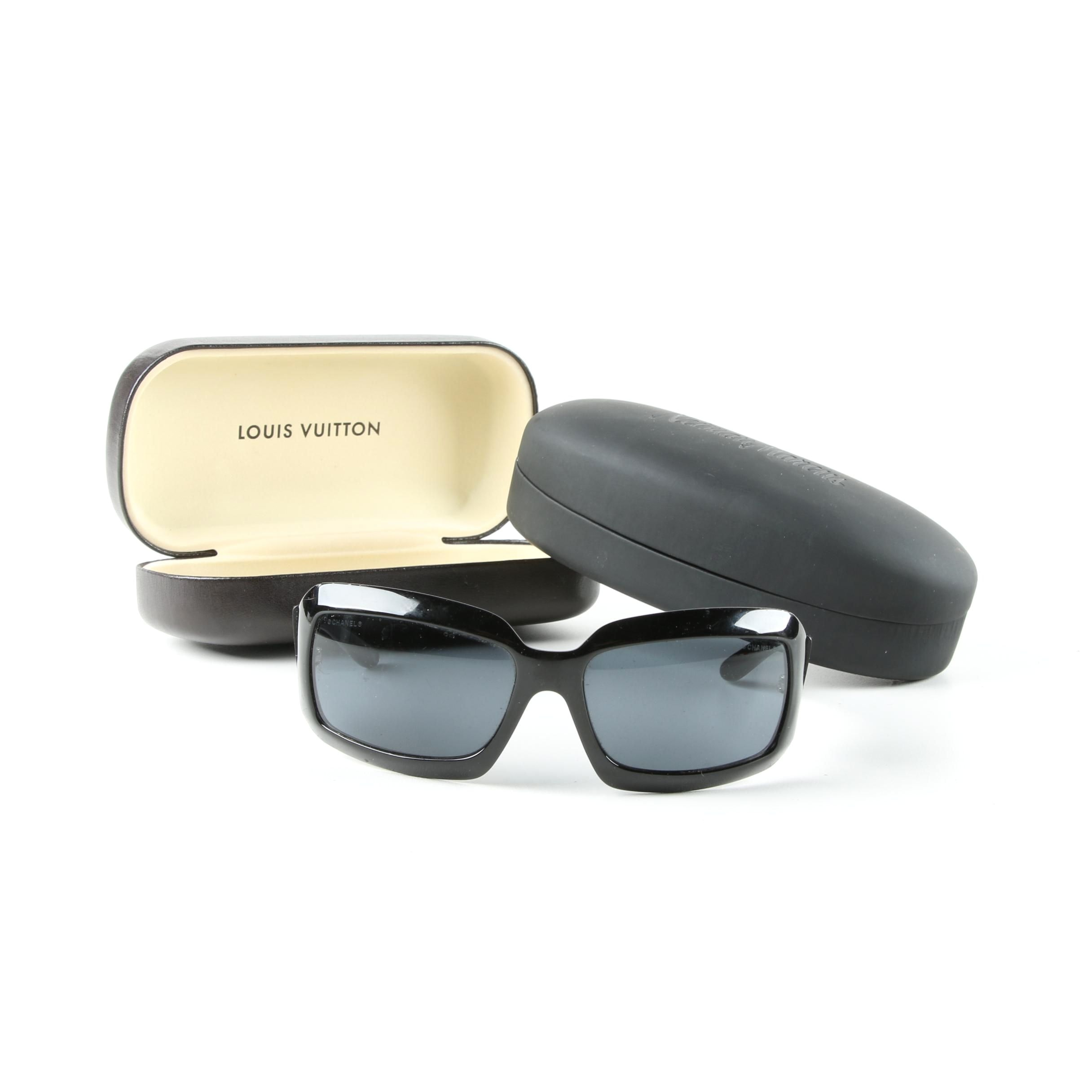Chanel 5076-H Black and Mother of Pearl Sunglasses Including Hard Cases