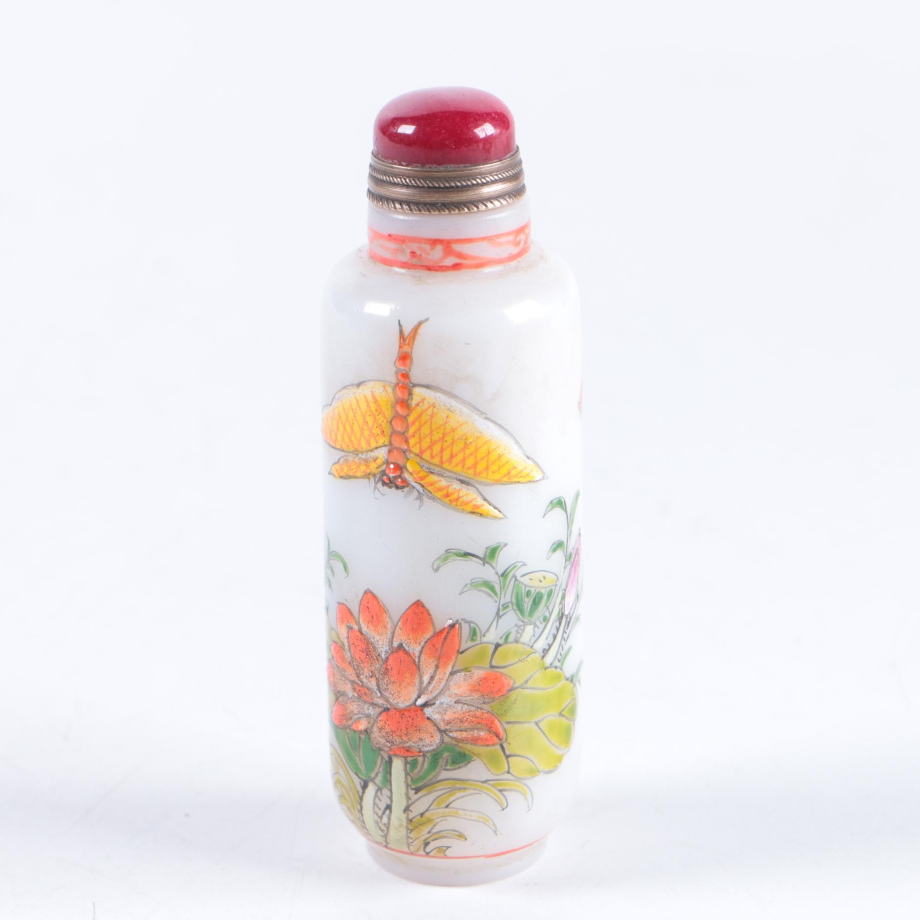 Chinese Glass Snuff Bottle with Stone Stopper