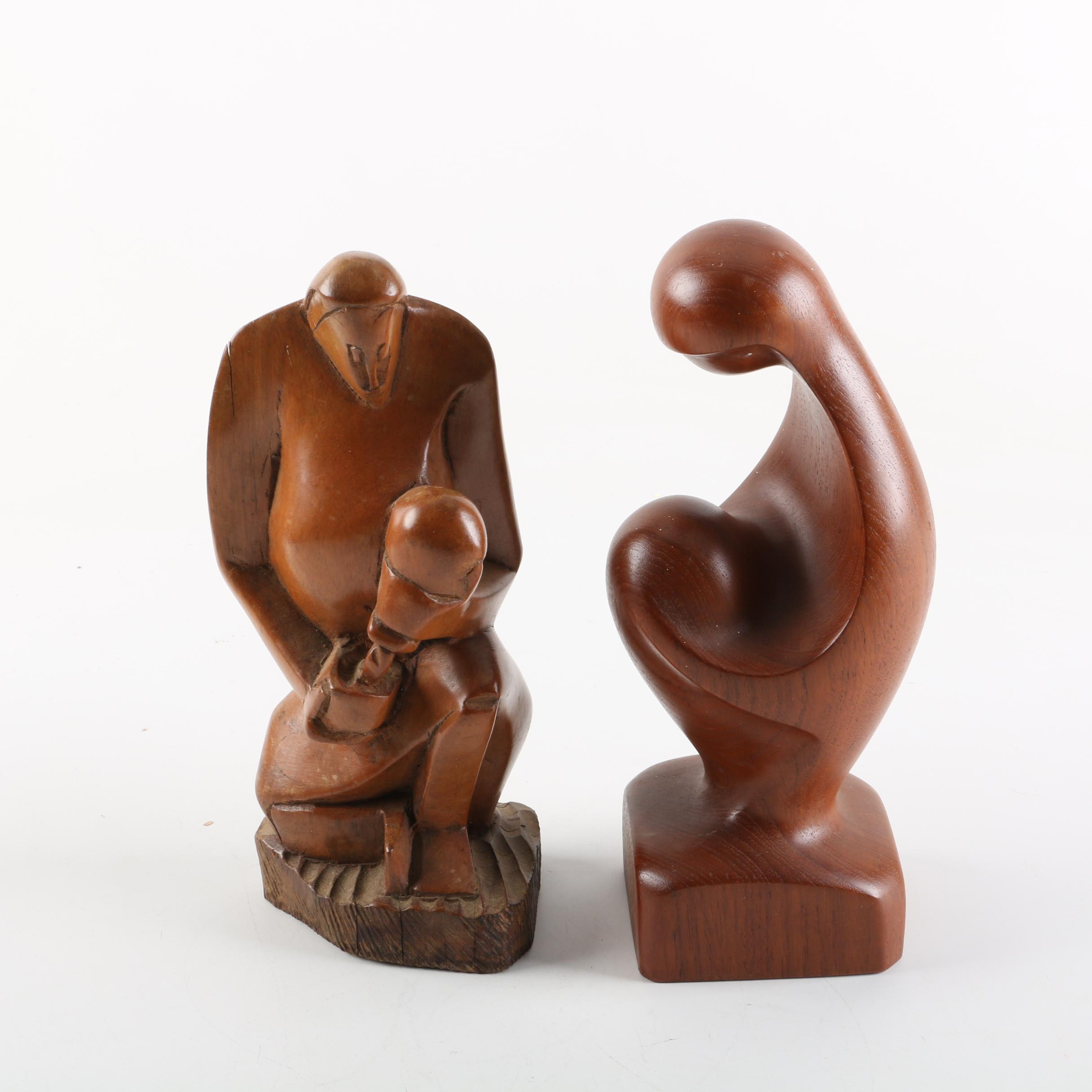 Hand Carved Wooden Figures Including Mother and Child
