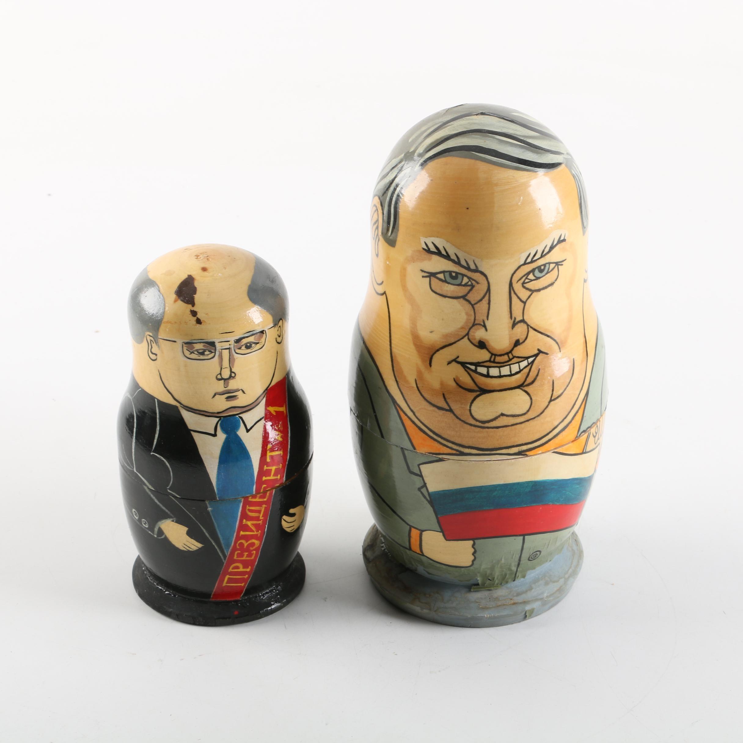 Vintage Hand-Painted Russian Politician Matryoshka Nesting Dolls