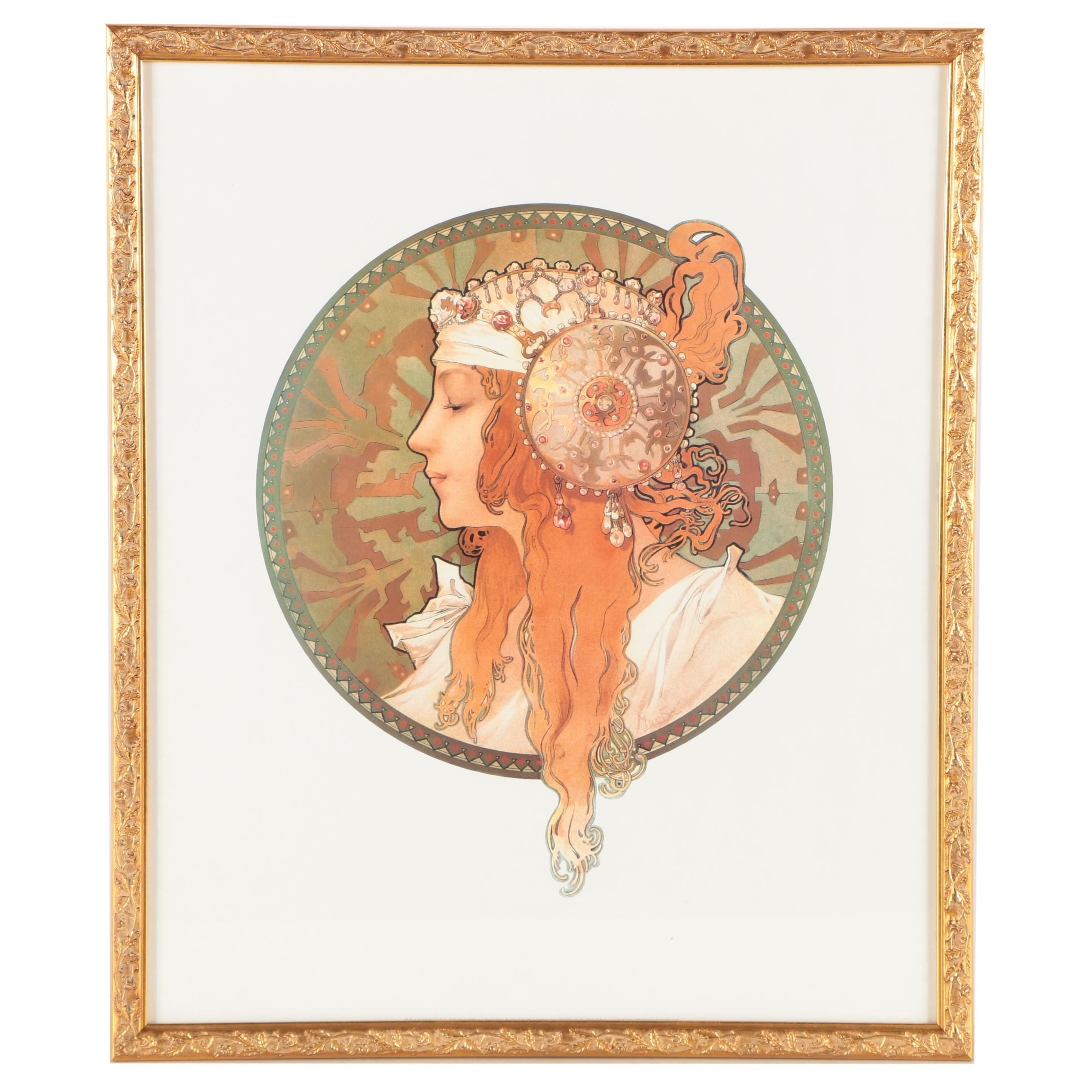 """Offset Lithograph After Alphonse Mucha's """"Byzantine Head: The Blonde"""""""