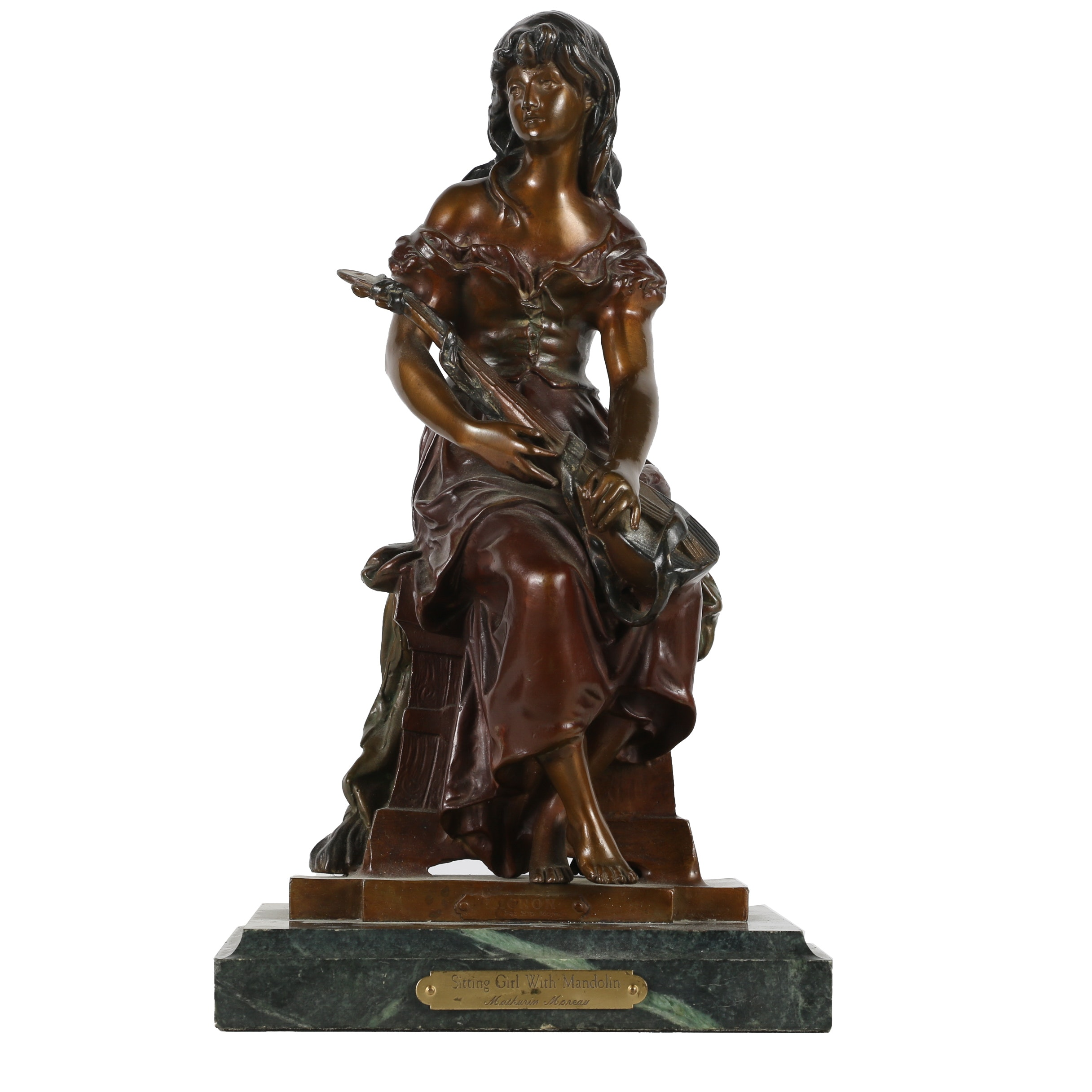 "Bronze Sculpture After Hippolyte François Moreau ""Sitting Girl with Mandolin"""