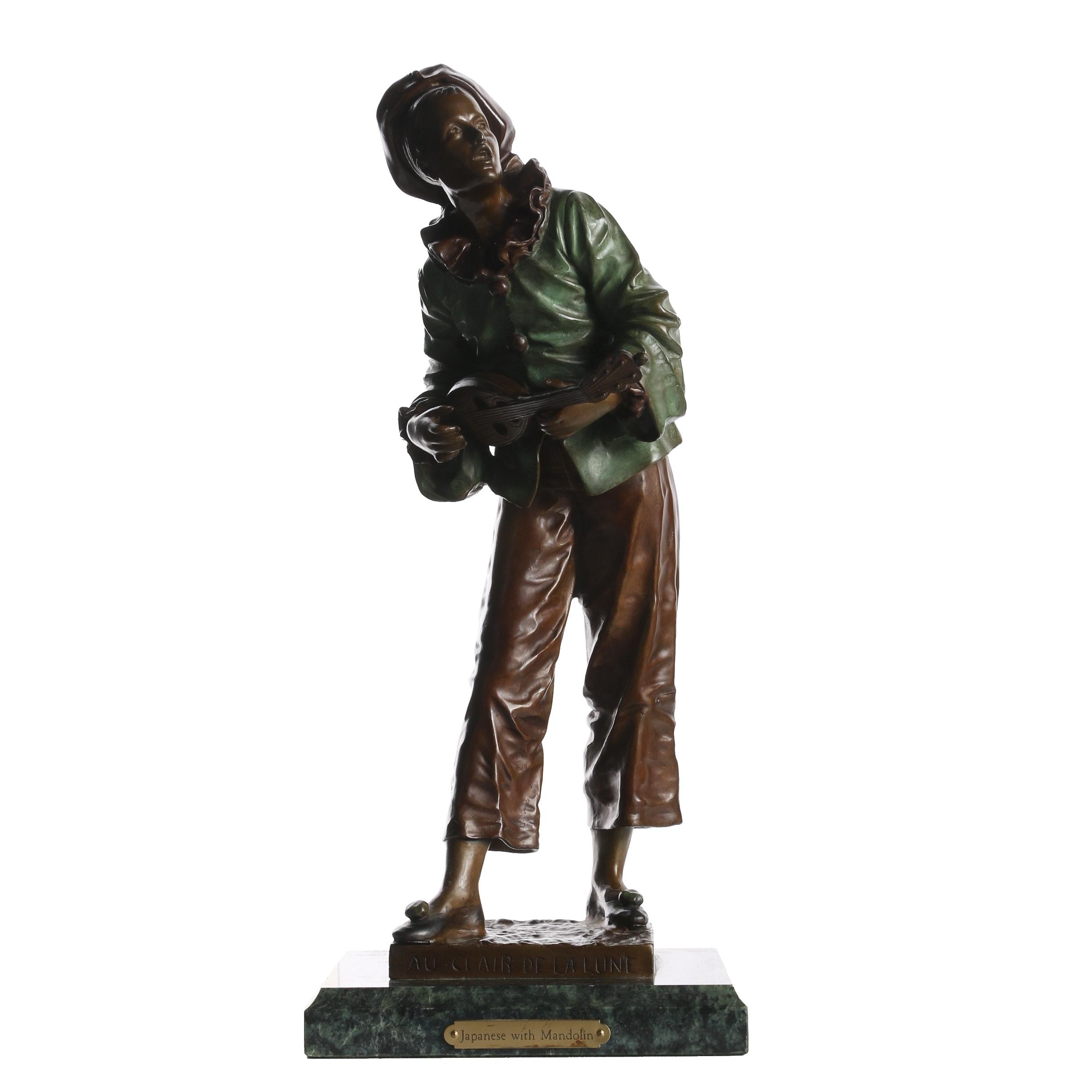 """Reproduction Bronze Sculpture After Eutrope Bouret """"Au Clair de la Lune"""""""