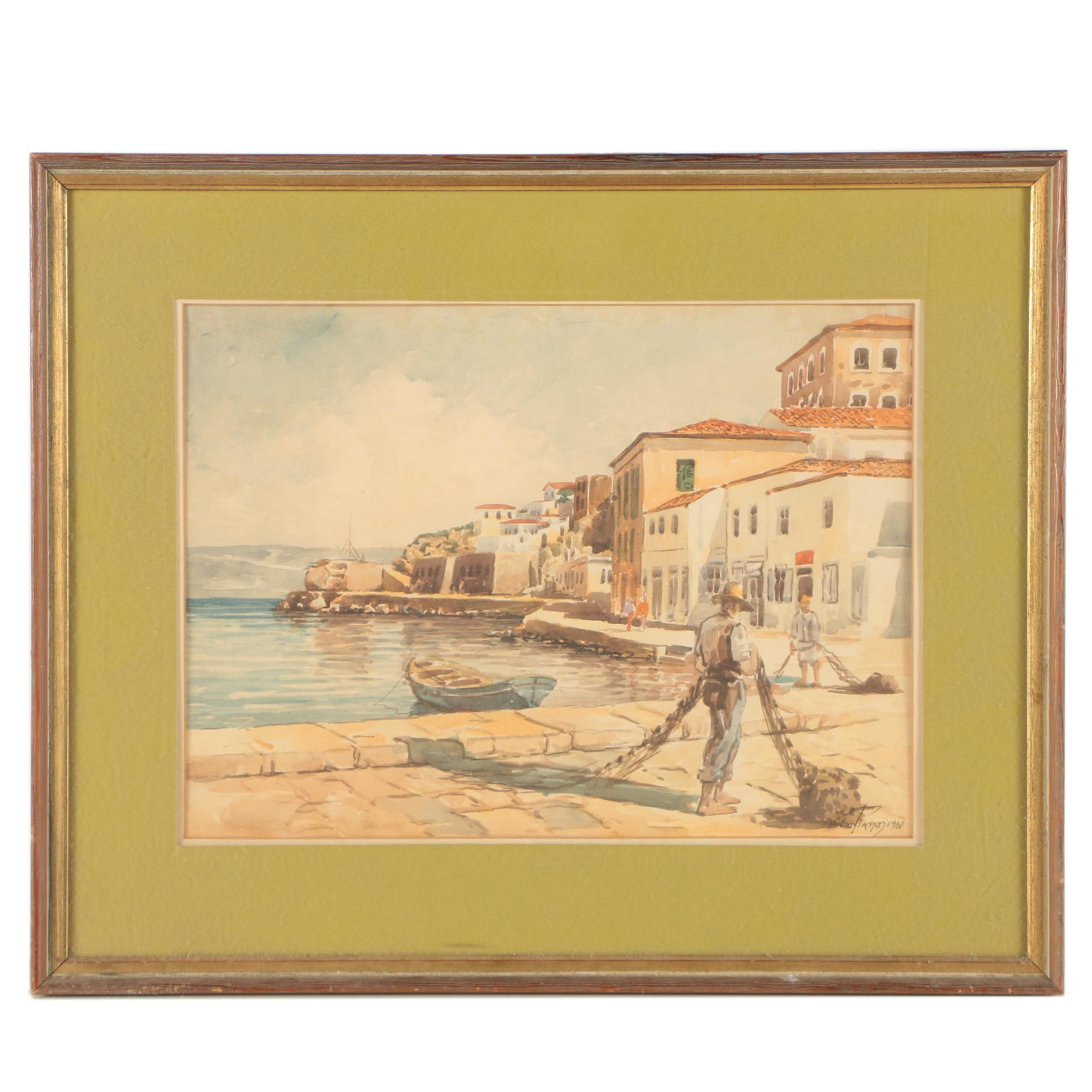 "Mid 20th Century Watercolor Painting ""Aegean Port"""