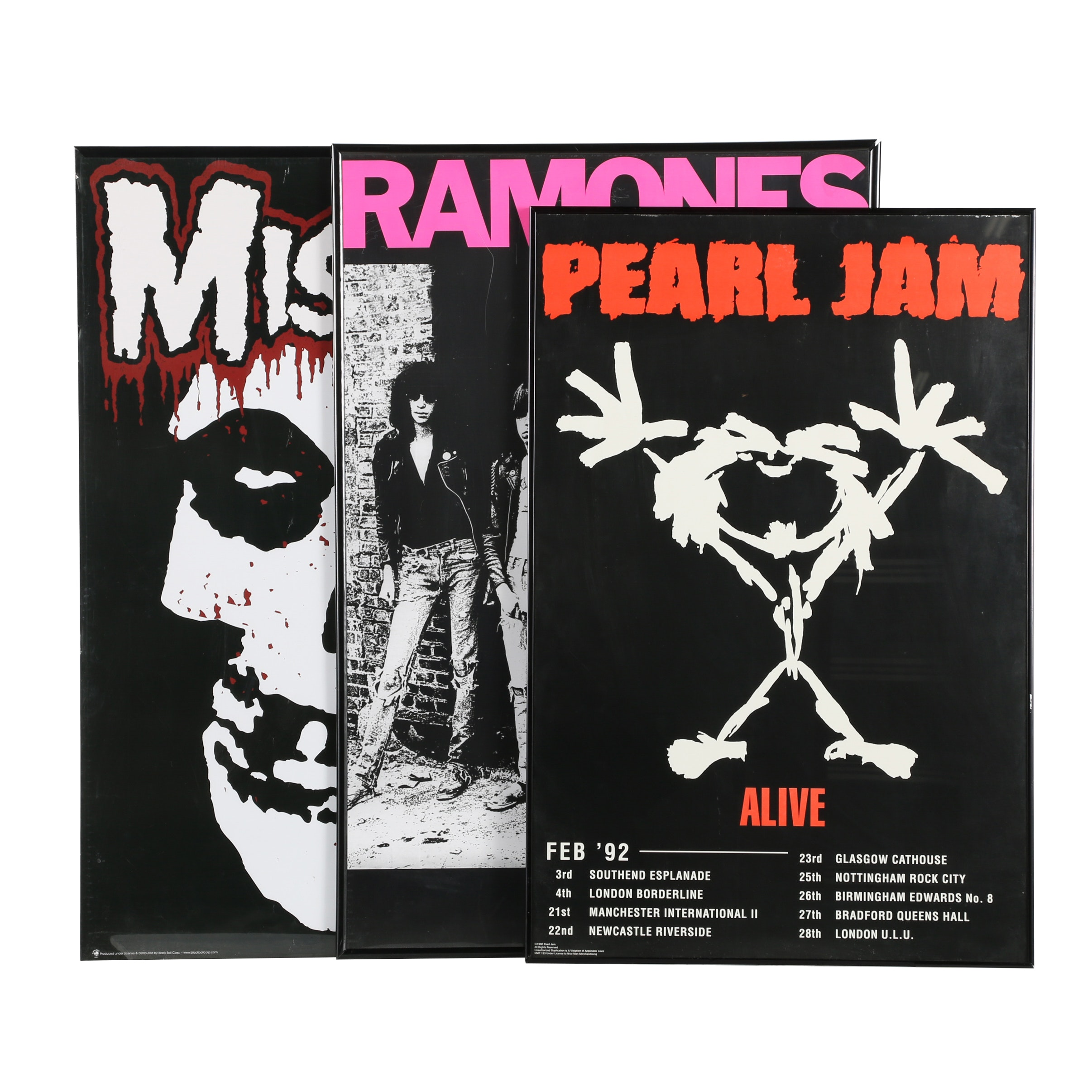 The Ramones, Pearl Jam, and Misfits Band Posters