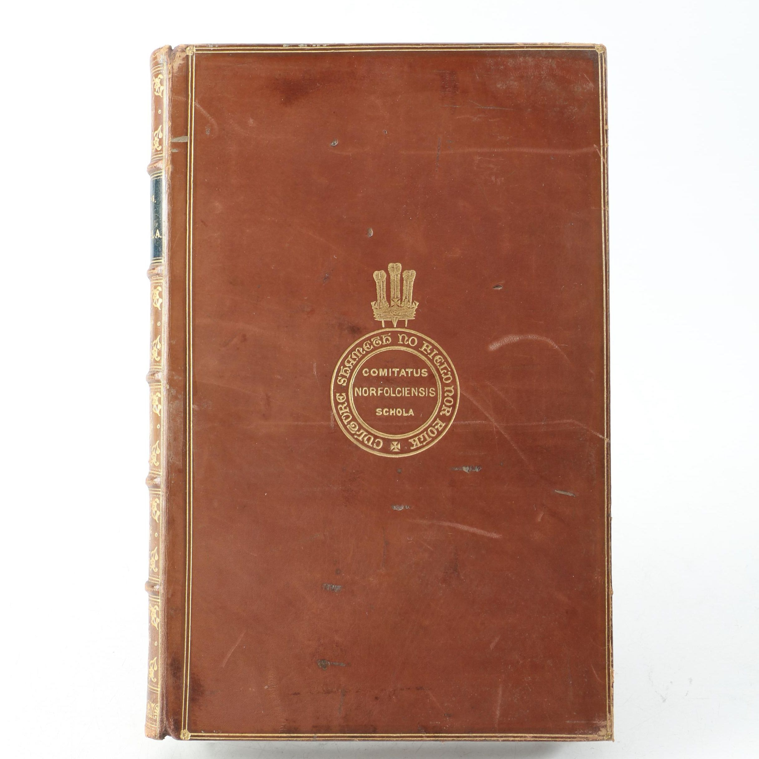 """1870s Leatherbound """"Picciola"""" with 1883 School Prize Bookplate and Gilt Seal"""