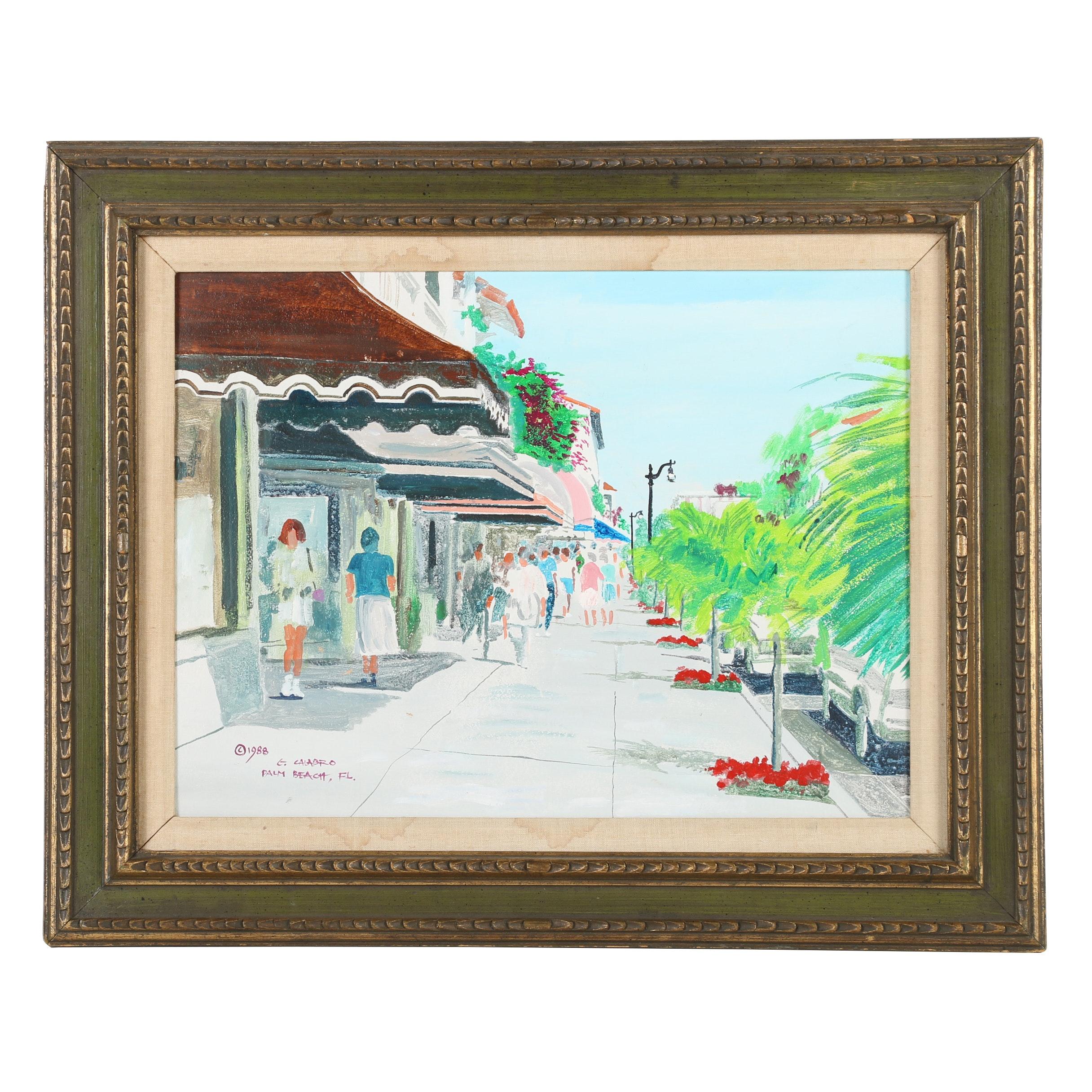 "G. Calabro Acrylic Painting ""Palm Beach, FL"""