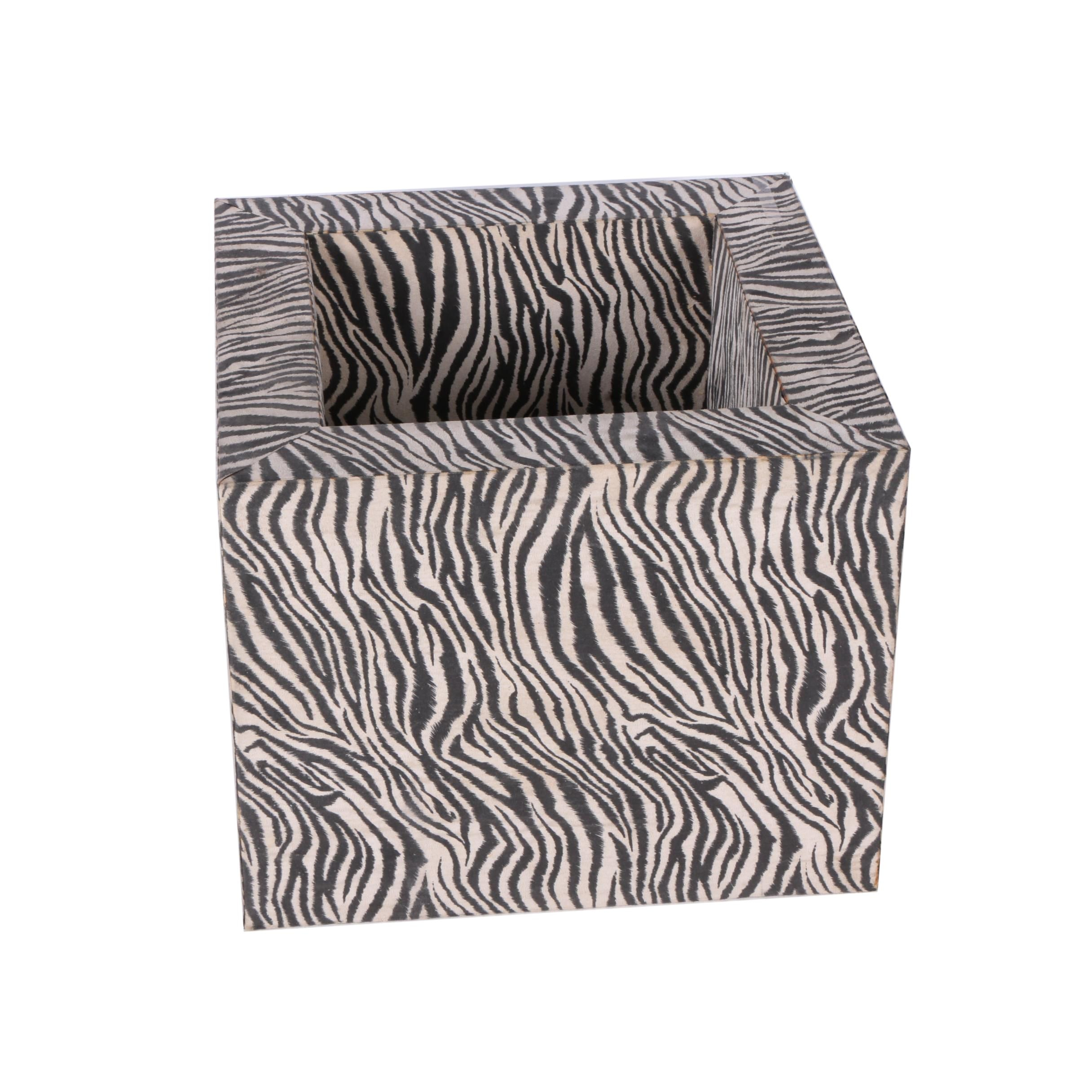 Open Cube Side Table in Faux Zebra