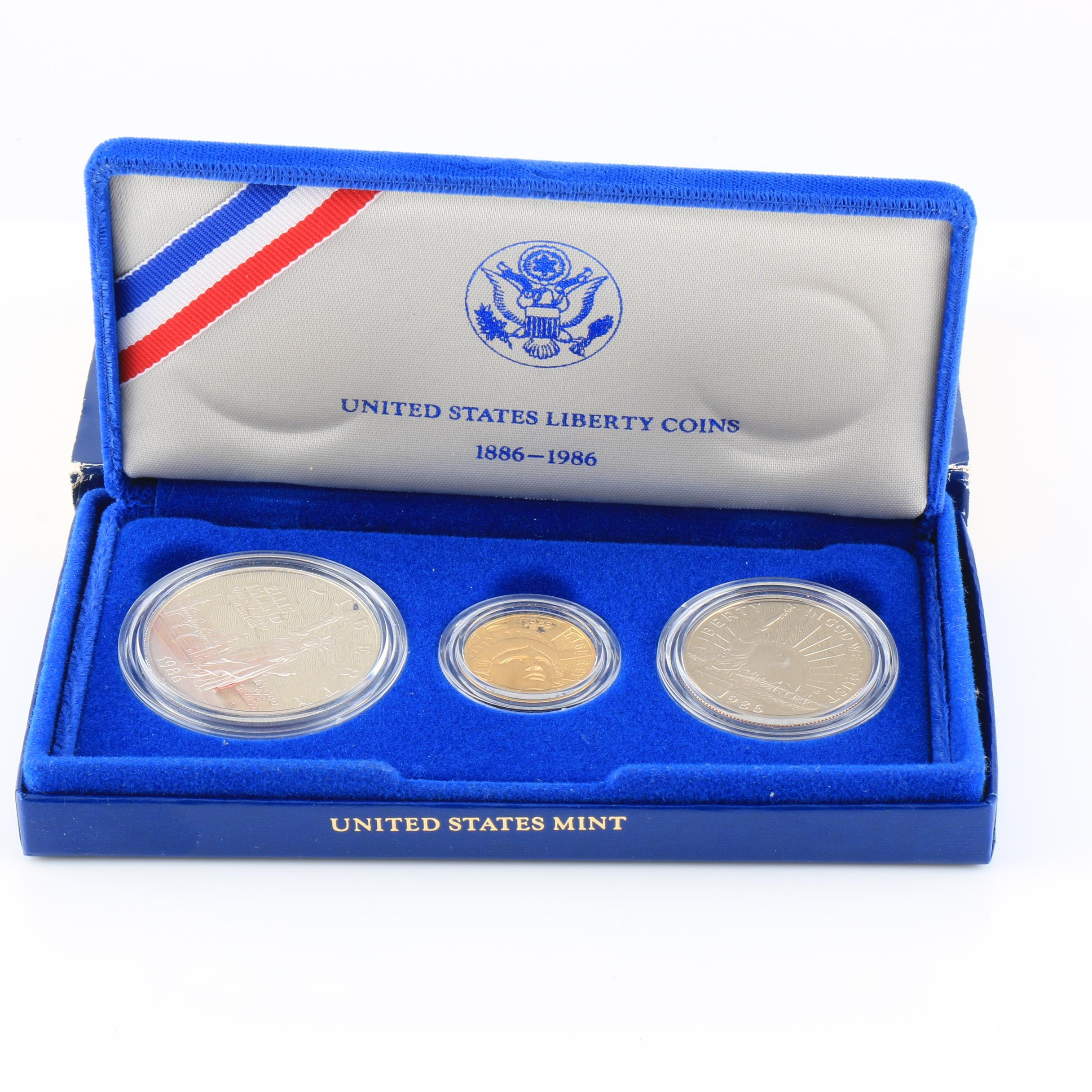 Set of Three Commemorative 1986 Ellis Island Proof Silver and Gold Coins