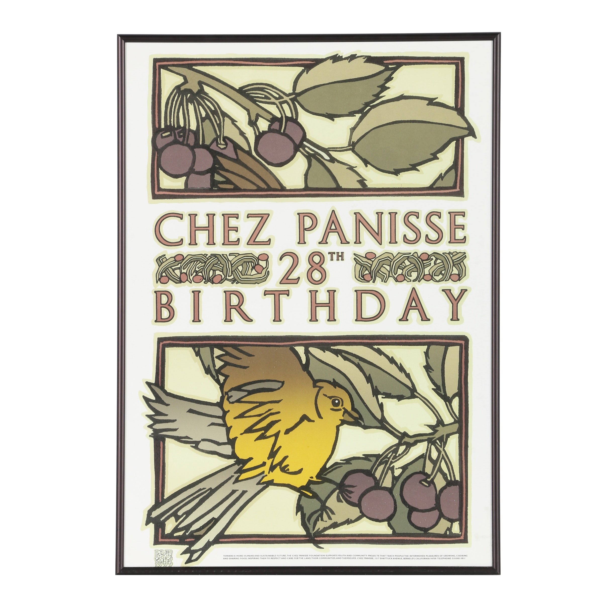 "David Lance Goines Lithographic Poster ""Chez Panisse 28th"""