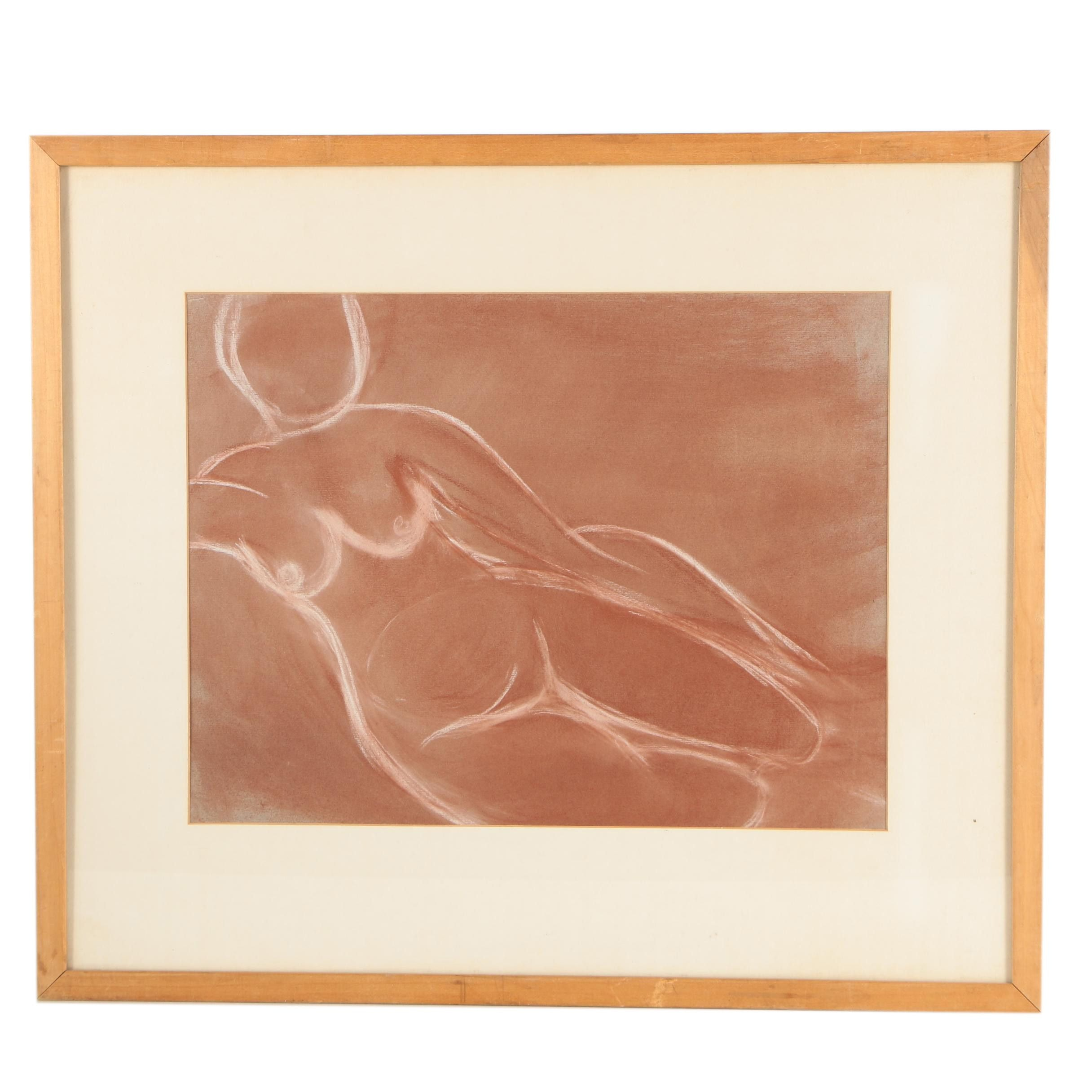 Chalk Drawing of a Nude Figure