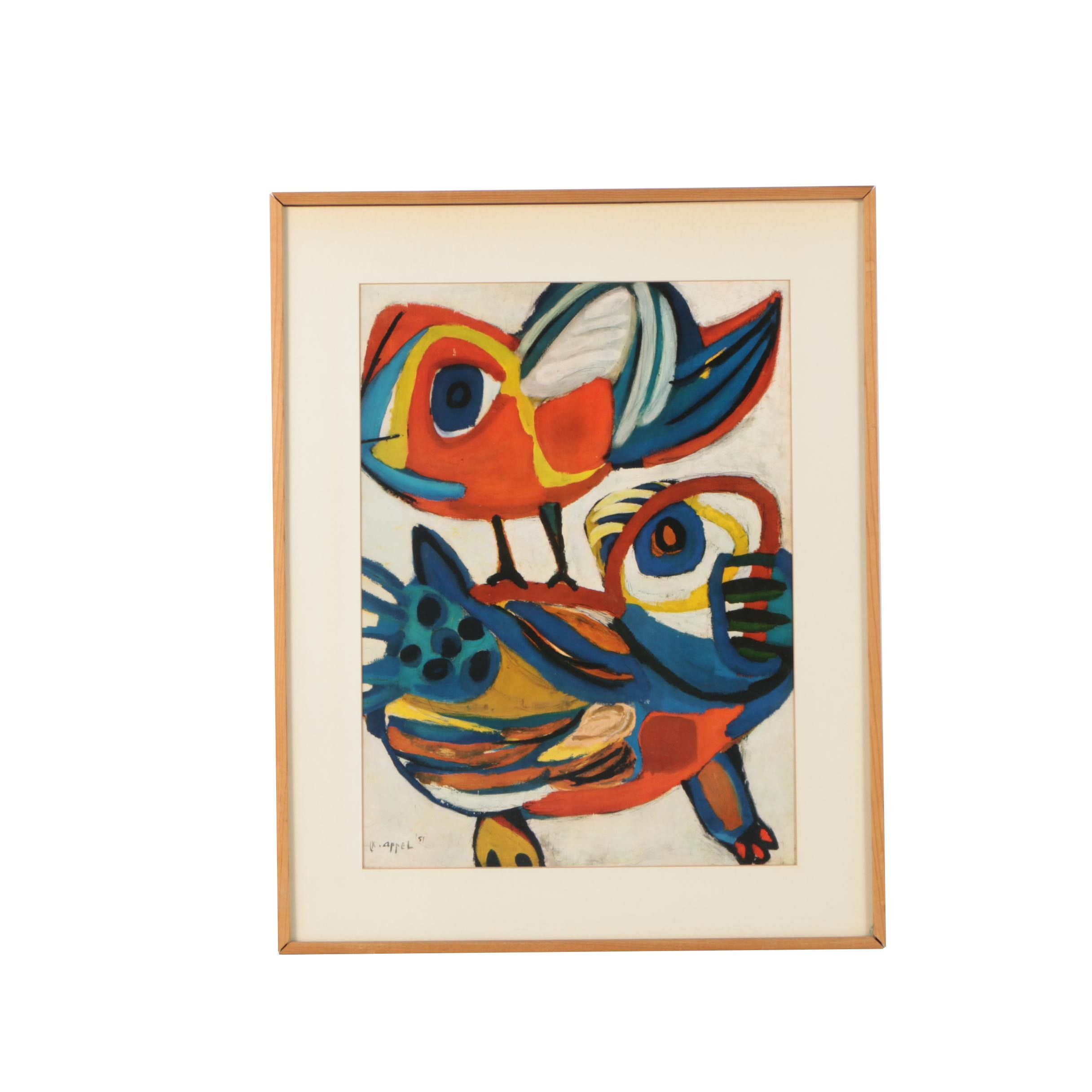 "Offset Lithograph Reproduction after 1951 Karel Appel Painting ""Ontmoeting"""