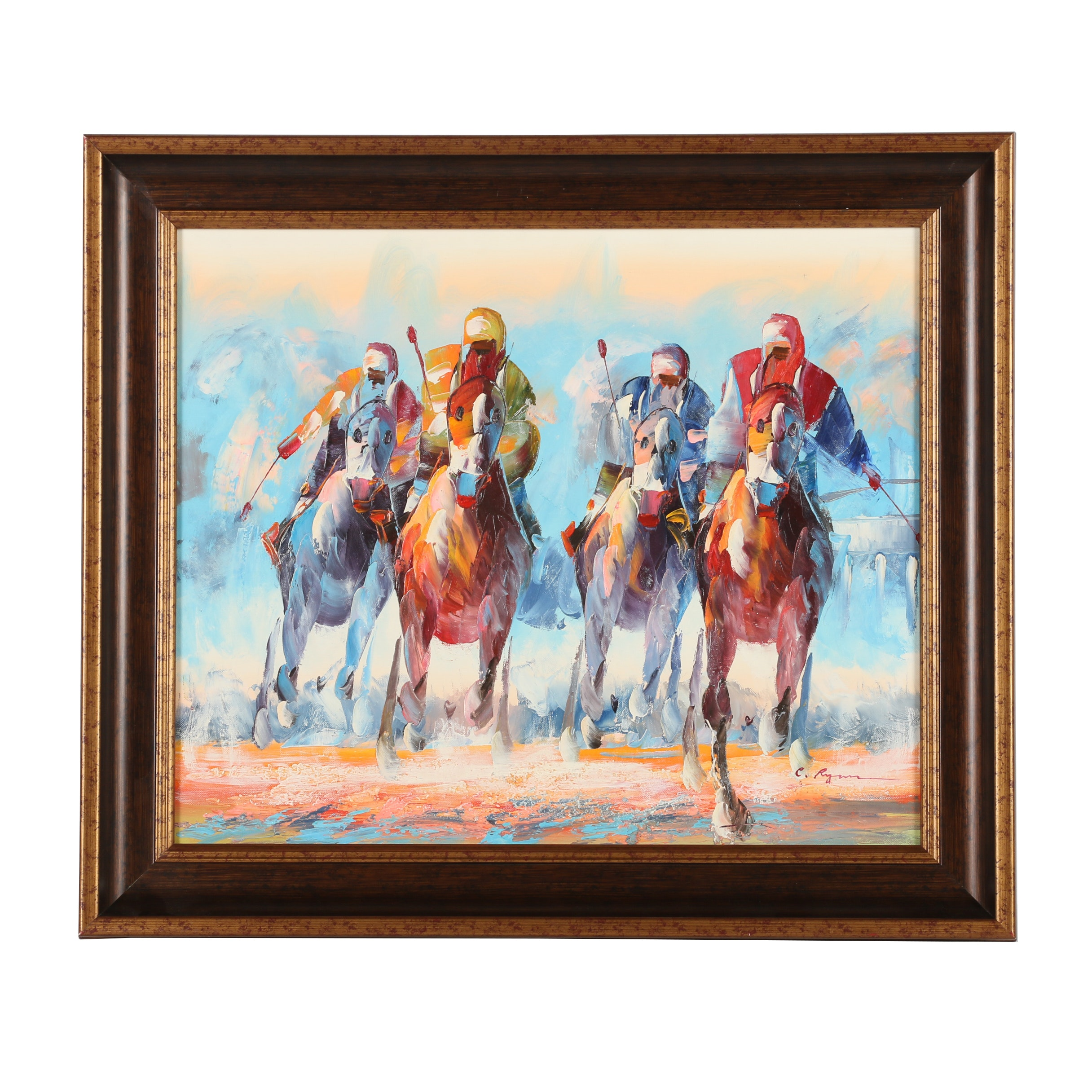 C. Ryan Oil Painting of a Horserace