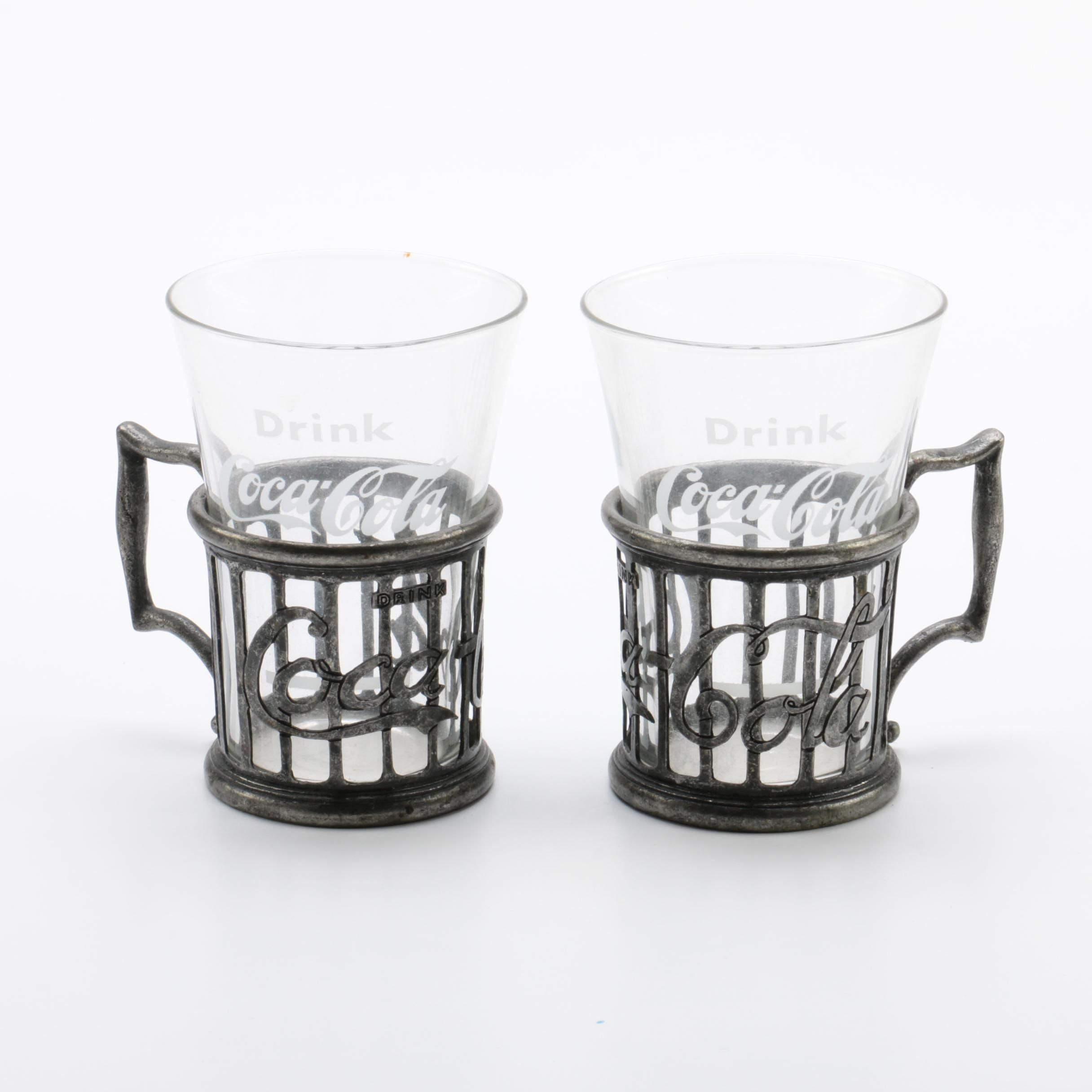 "C. 1973 Reproduction Glass and Pewter ""Coca-Cola"" Soda Fountain Glasses"