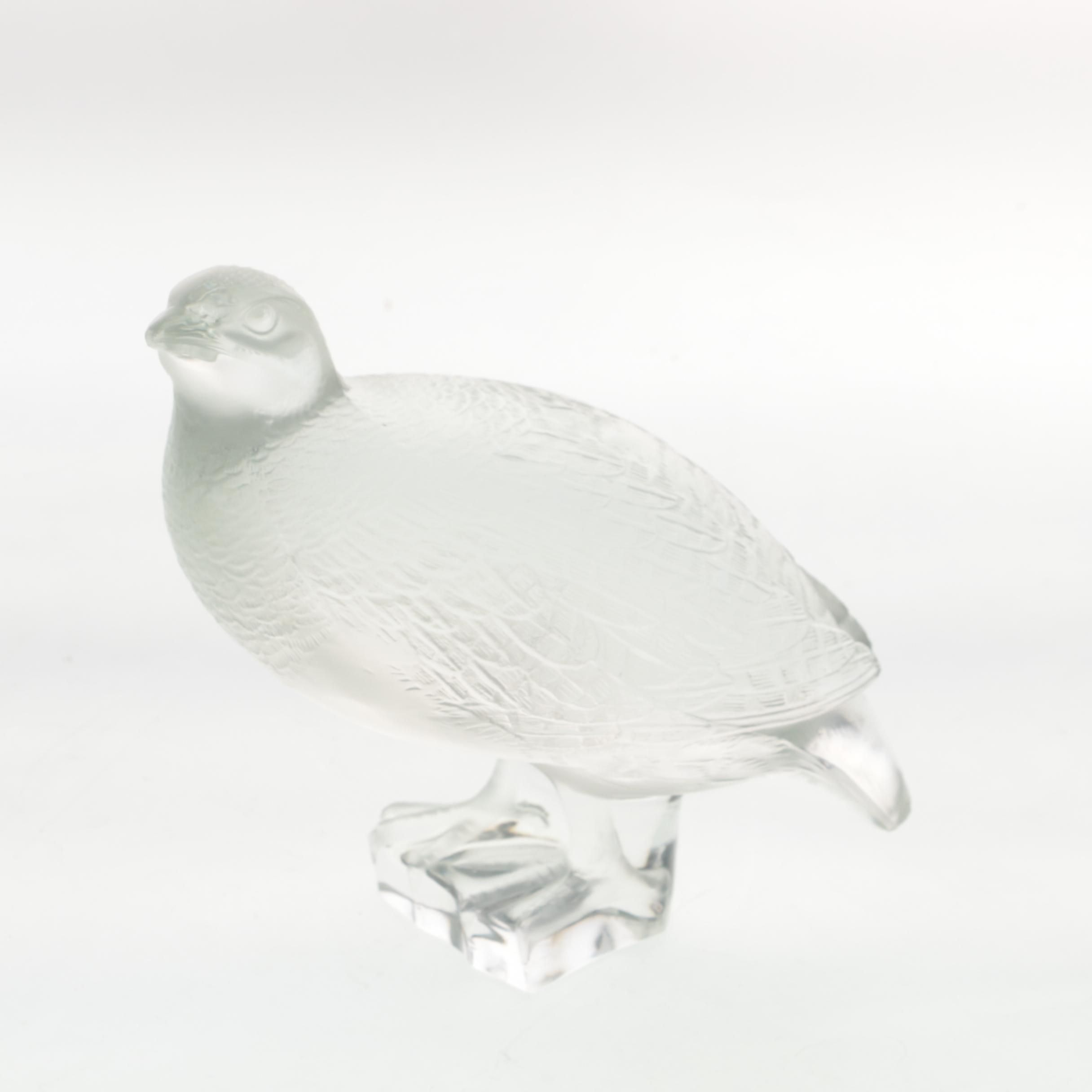 Lalique France Frosted Crystal Quail Figurine
