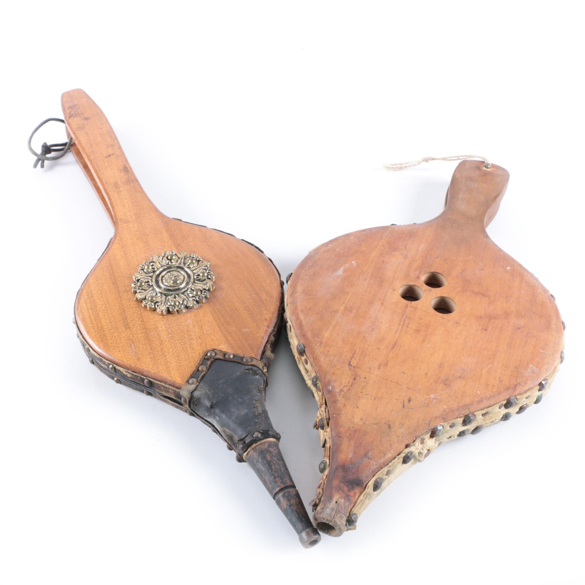 Vintage Wood and Metal Fireplace Bellows