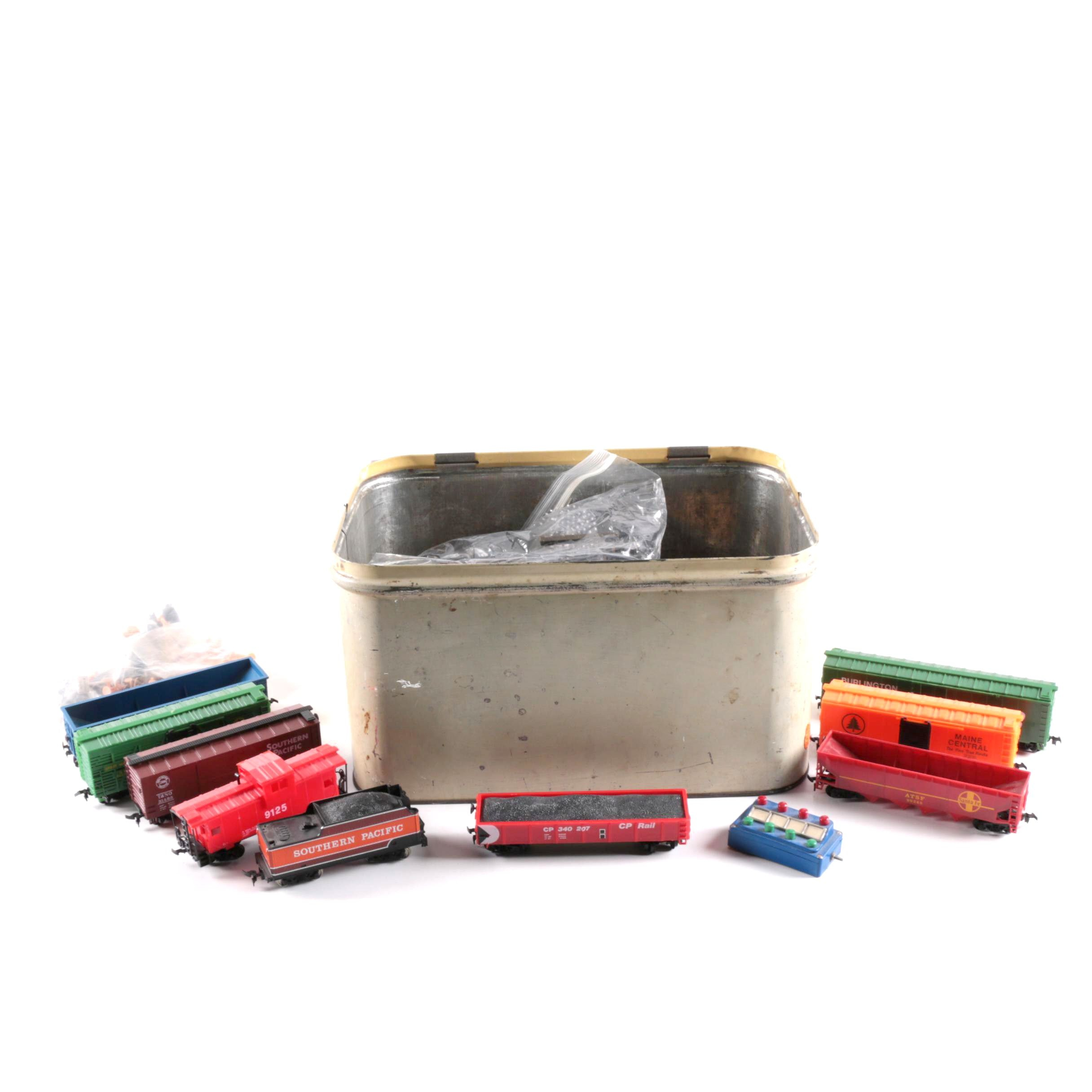Vintage Plastic Trains with Empeco Tin Container, Track, and More