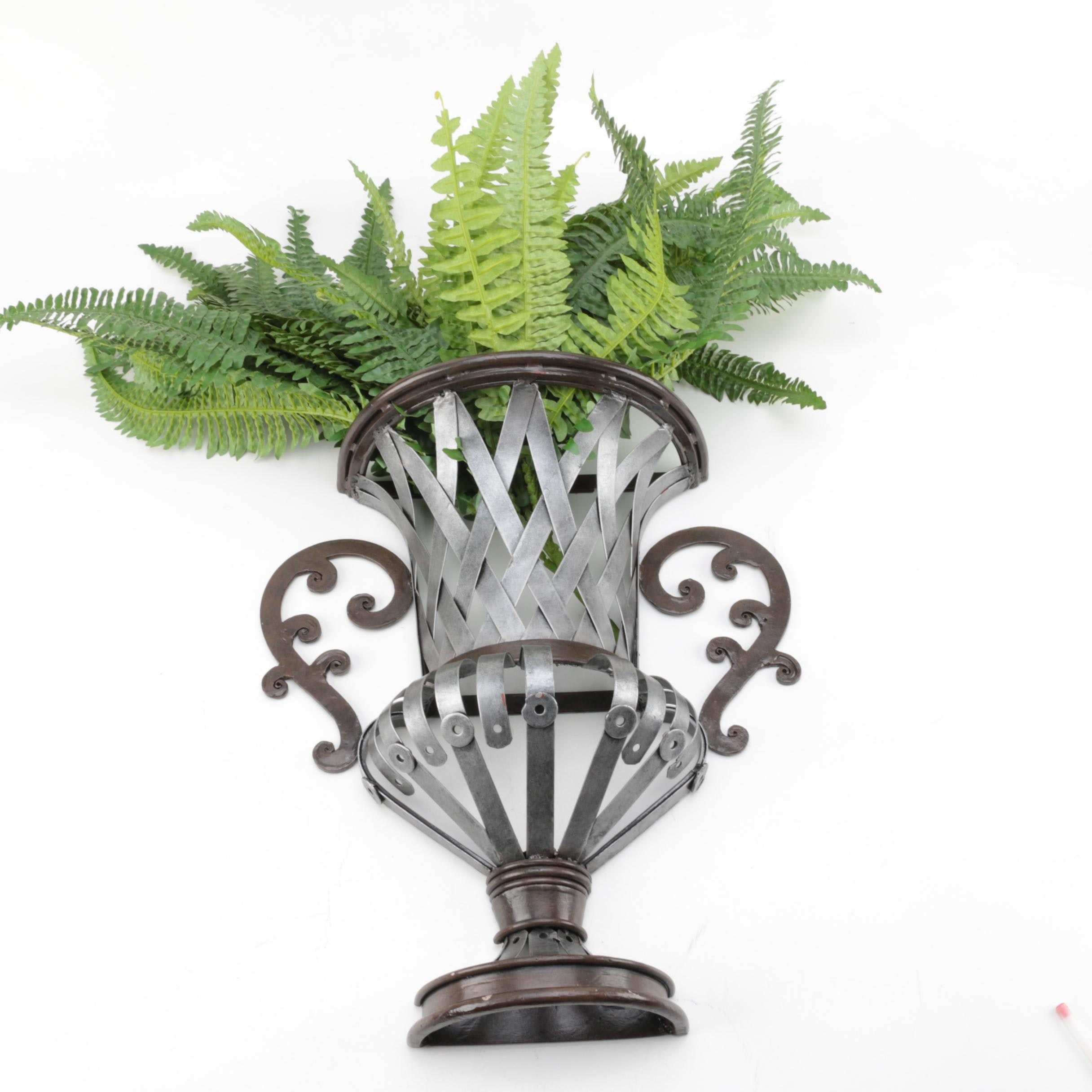 Metal Urn Style Wall Pocket with Artificial Plants