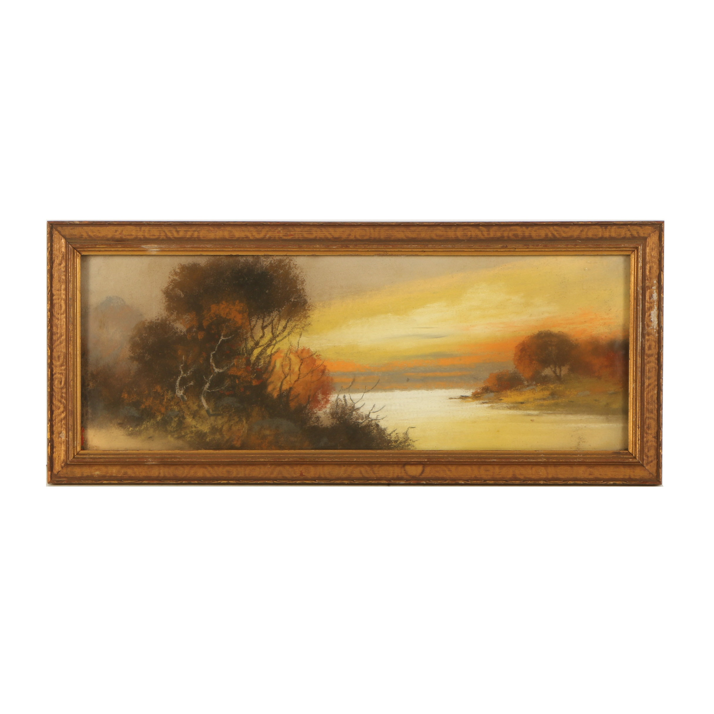 Pastel Drawing of a Landscape at Sunset
