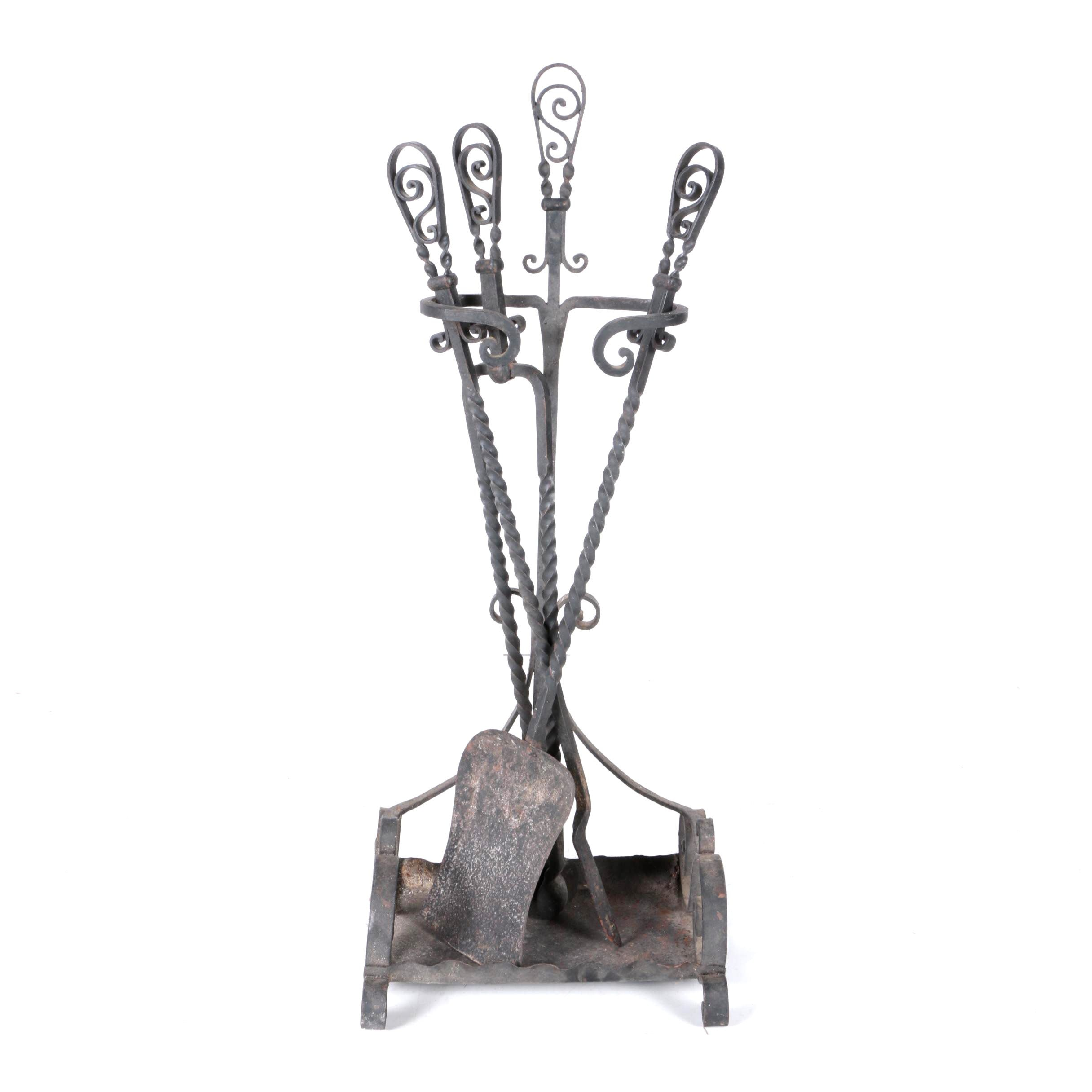 Wrought Iron Fireplace Tools and Stand