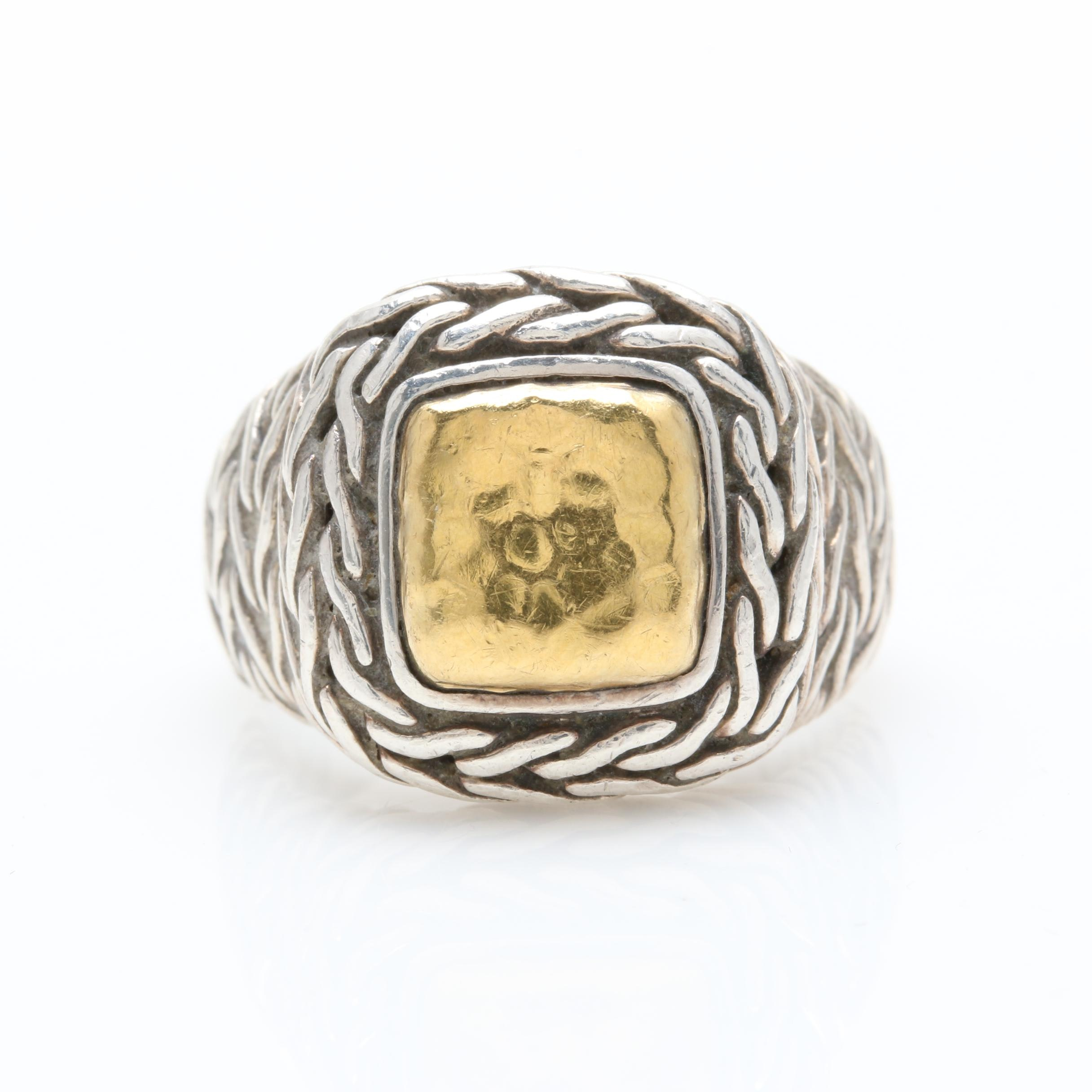 John Hardy Sterling Silver and 22K Yellow Gold Ring