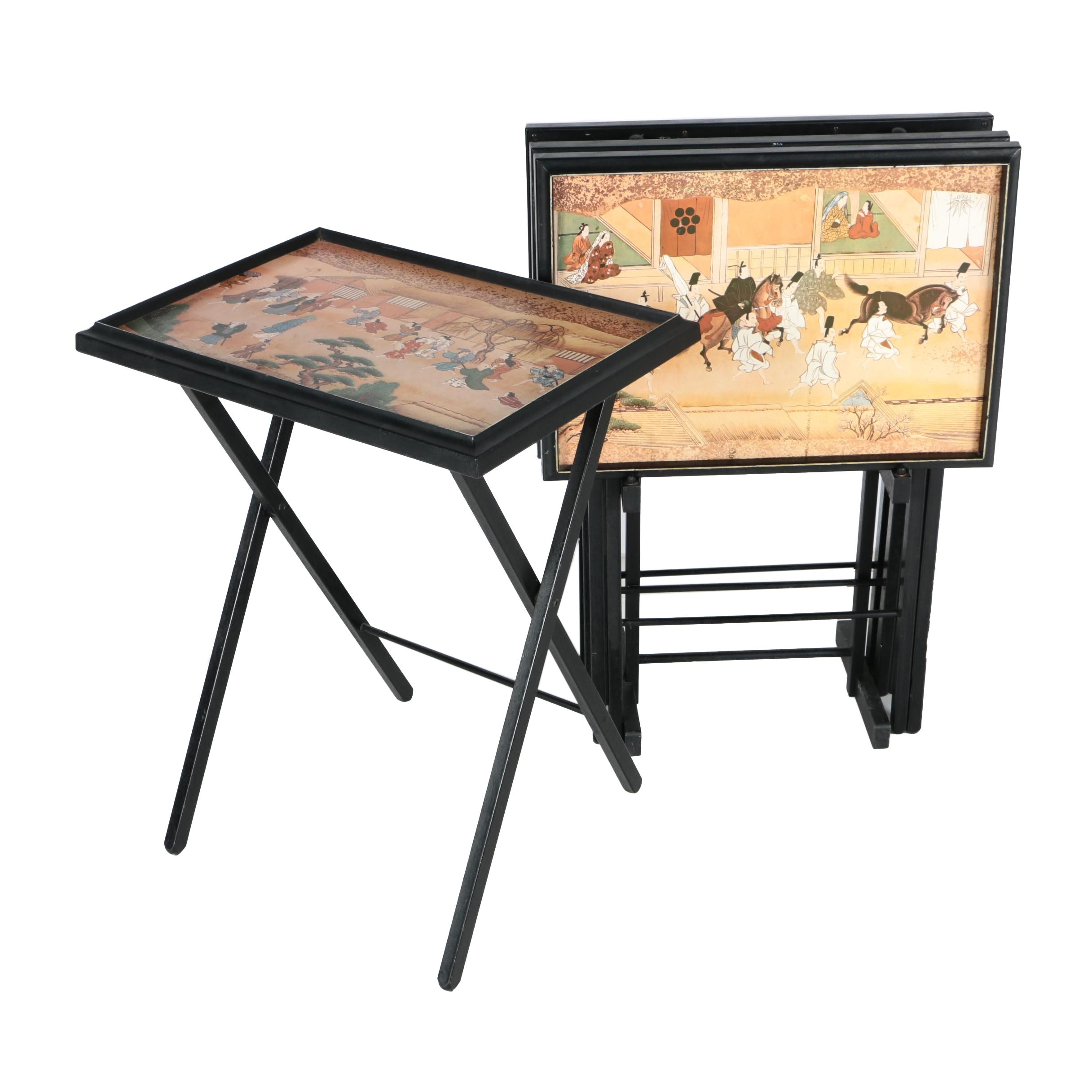Four Tray Tables with Asian Scenes and Stand